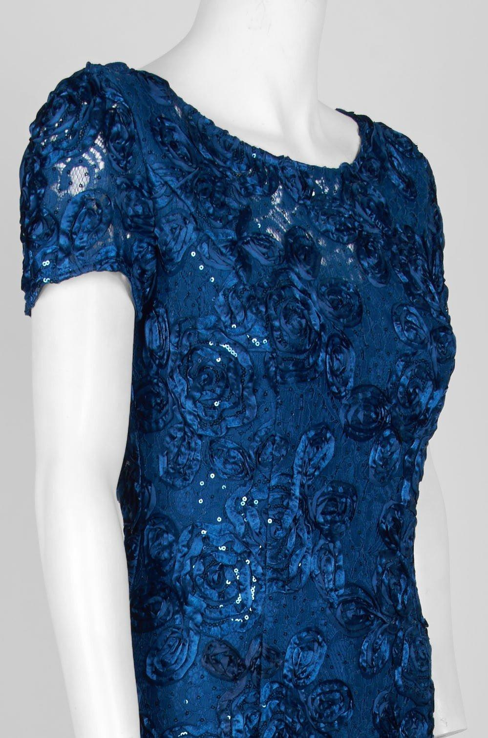 665ae8a1 Alex Evenings - Blue 112788 Sequin Rosette Short Sleeve A-line Gown - Lyst.  View fullscreen
