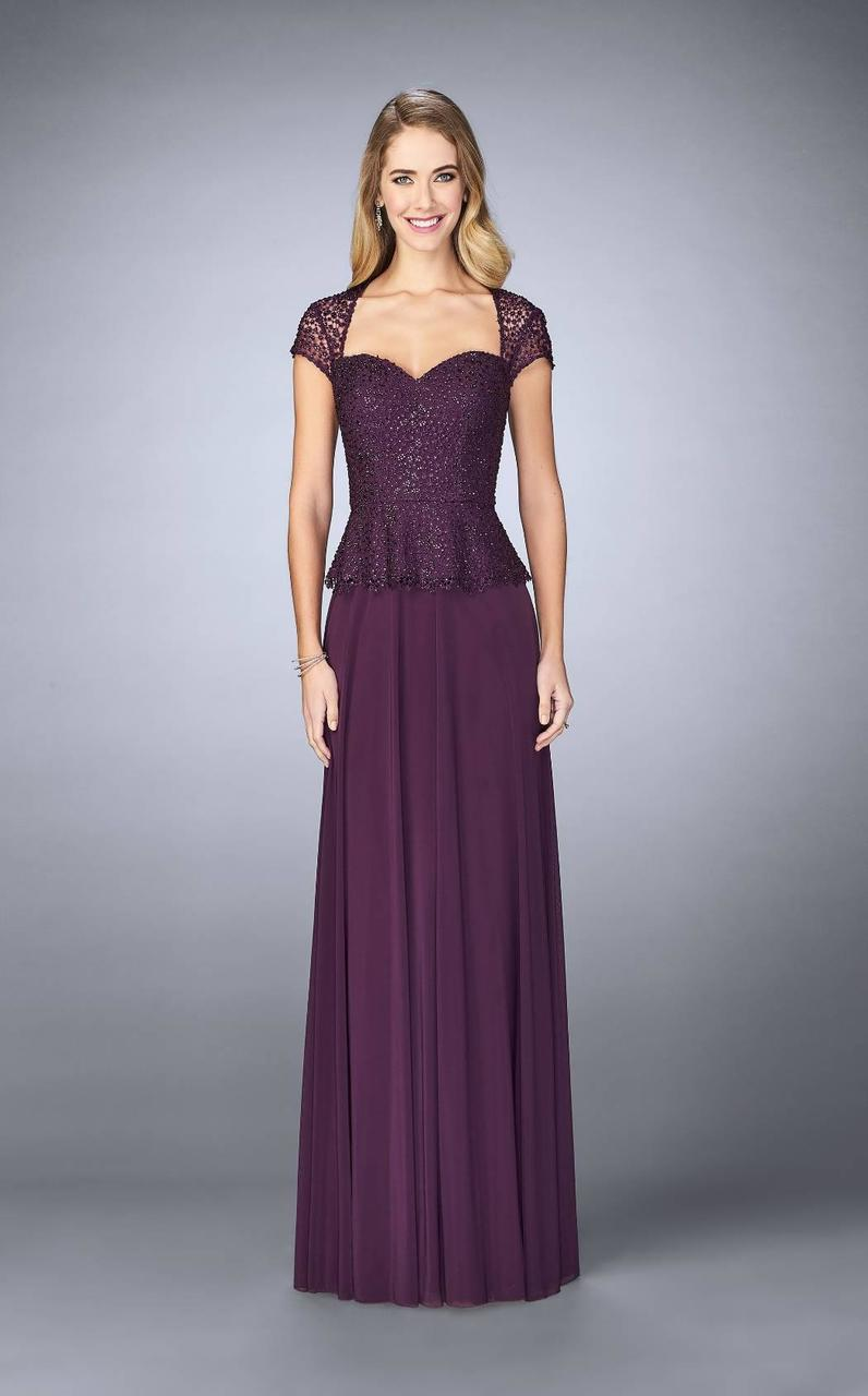 Lyst - La Femme - 24915 Beaded And Peplum Evening Gown in Purple