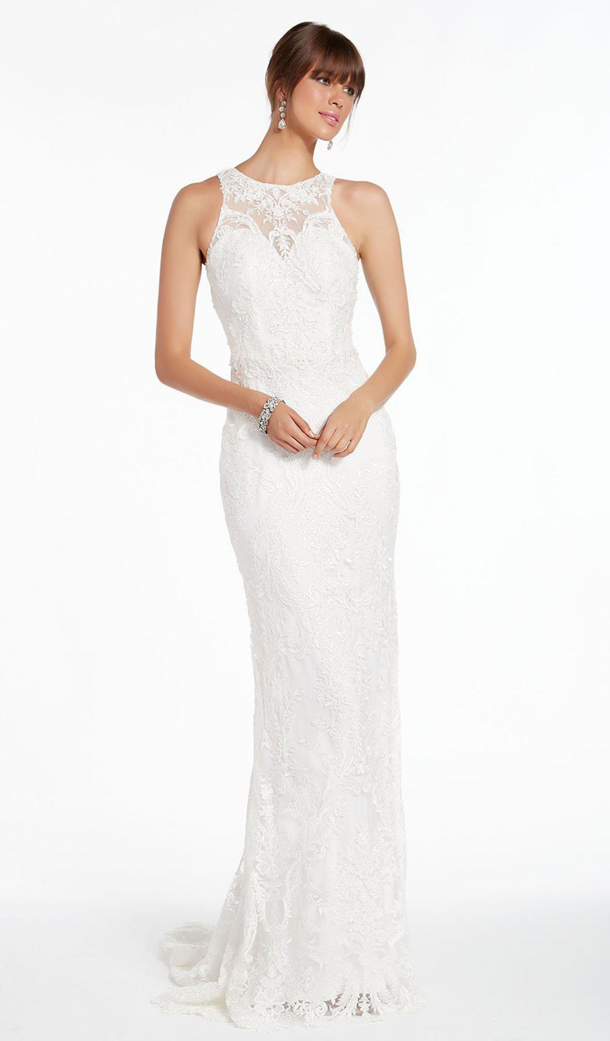 4ad1947321 Lyst - Alyce Paris 7008 Sheer Jewel Neck Embroidered Lace Gown in White