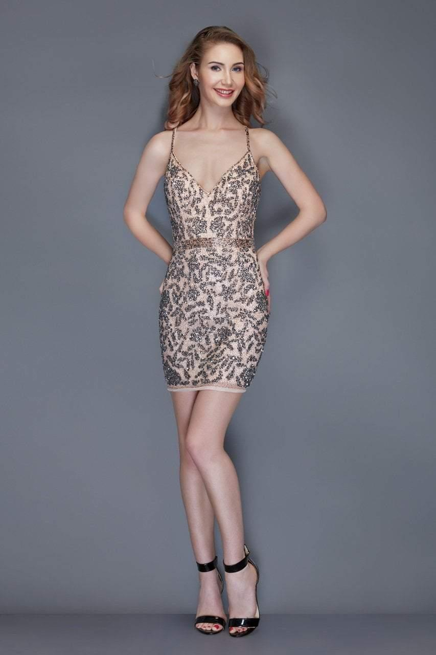 fa959267026 Lyst - Primavera Couture 3117 Sequined Plunging V-neck Fitted Dress