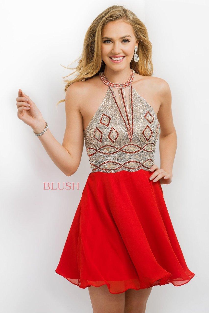 Blush Lingerie Crystal Embellished Halter Style A-line
