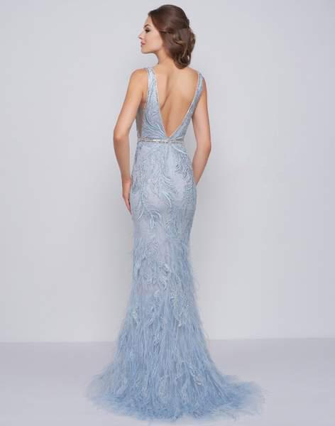 124288f766 Lyst - Mac Duggal Prom - 50537m Beaded Fringed Plunging V-neck Evening Dress  in Blue