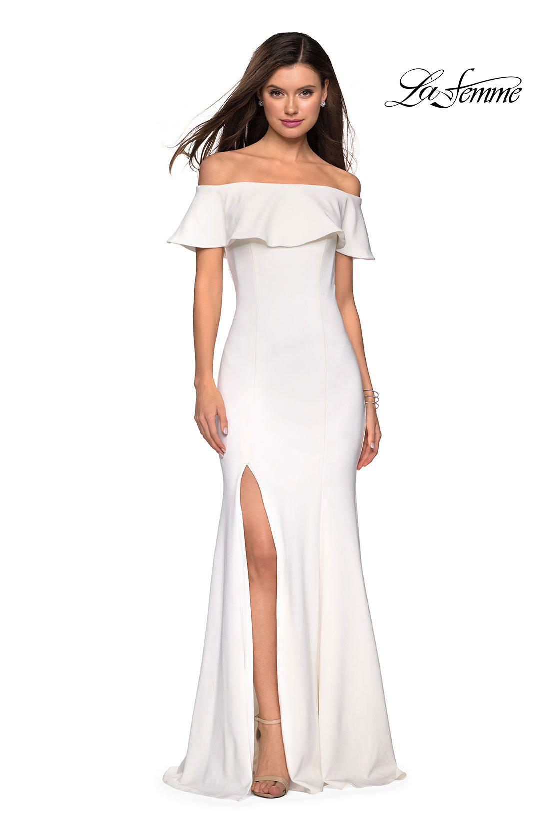 c8042d2e469 Lyst - La Femme 27096 Ruffled Off-shoulder Jersey Trumpet Dress in White
