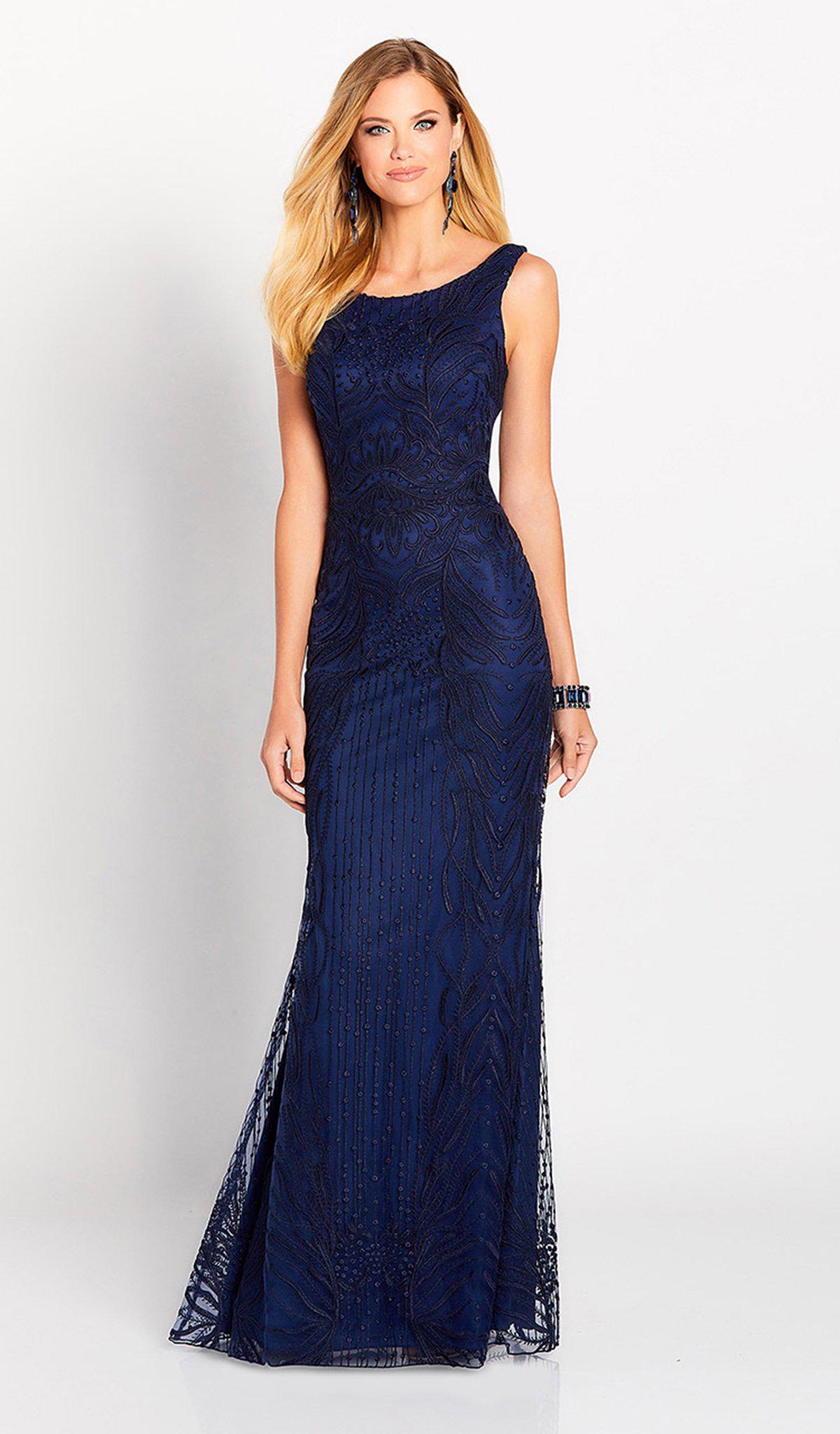 9103a8244279 Mon Cheri. Women's Blue Cameron Blake By - 119644 Allover Lace Trumpet Dress