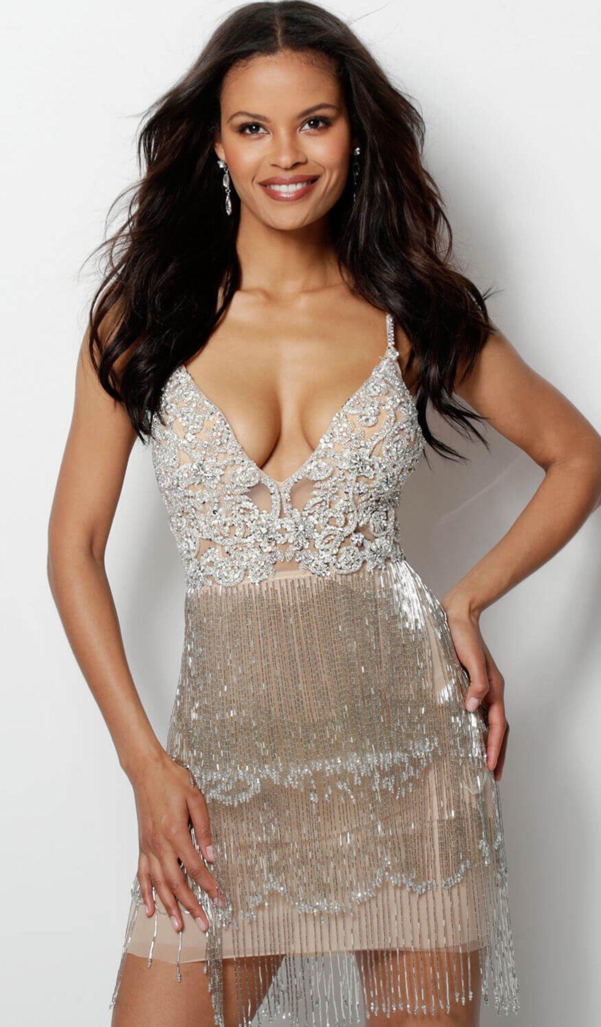 1bf8a5256703 Jovani 61895 Crystal Embellished Plunging V-neck Fringe Sheath Dress ...