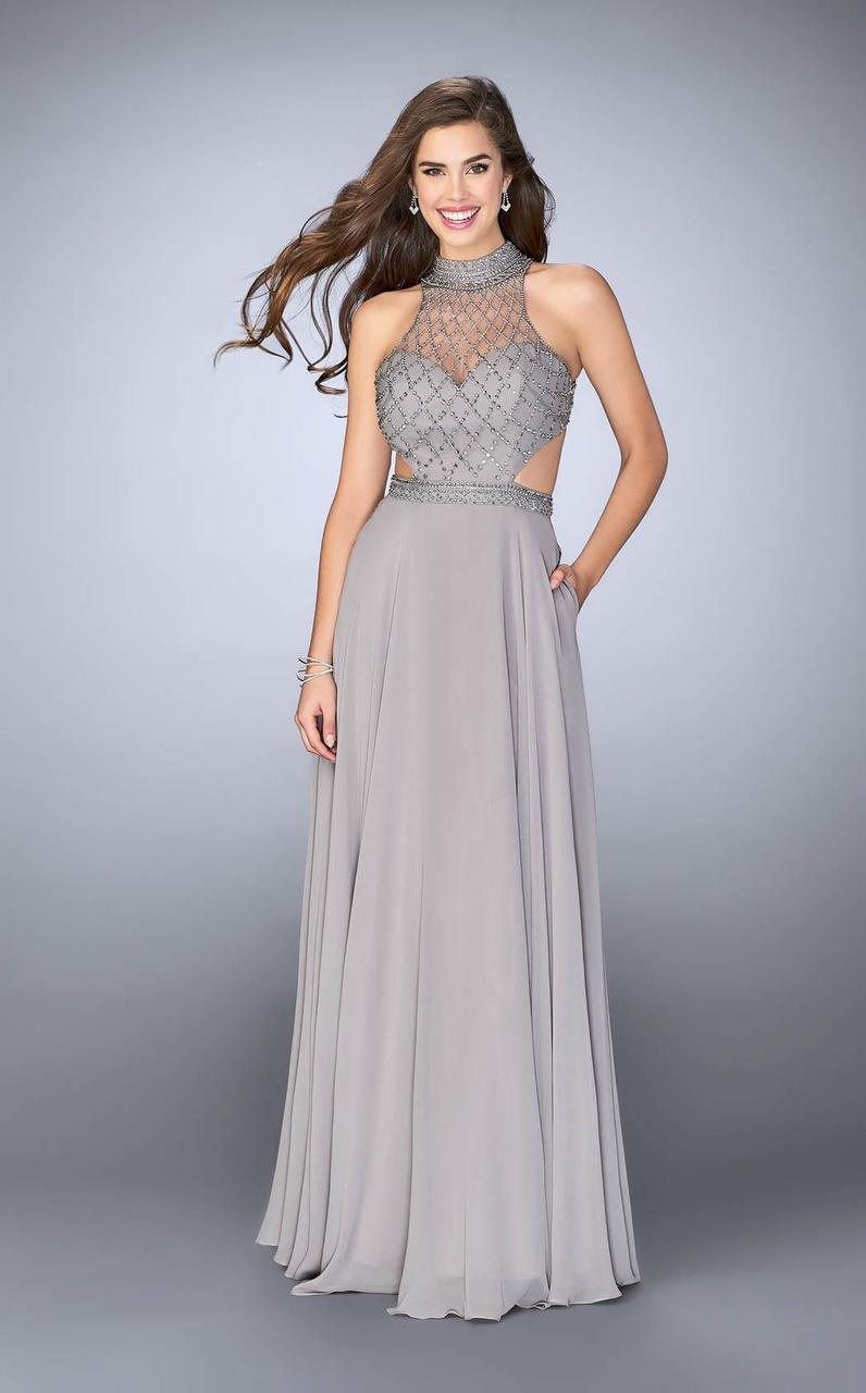 46c7bb4610d La Femme. Women's Metallic Gigi - 246849 Bead Embellished High Neck Chiffon  Dress