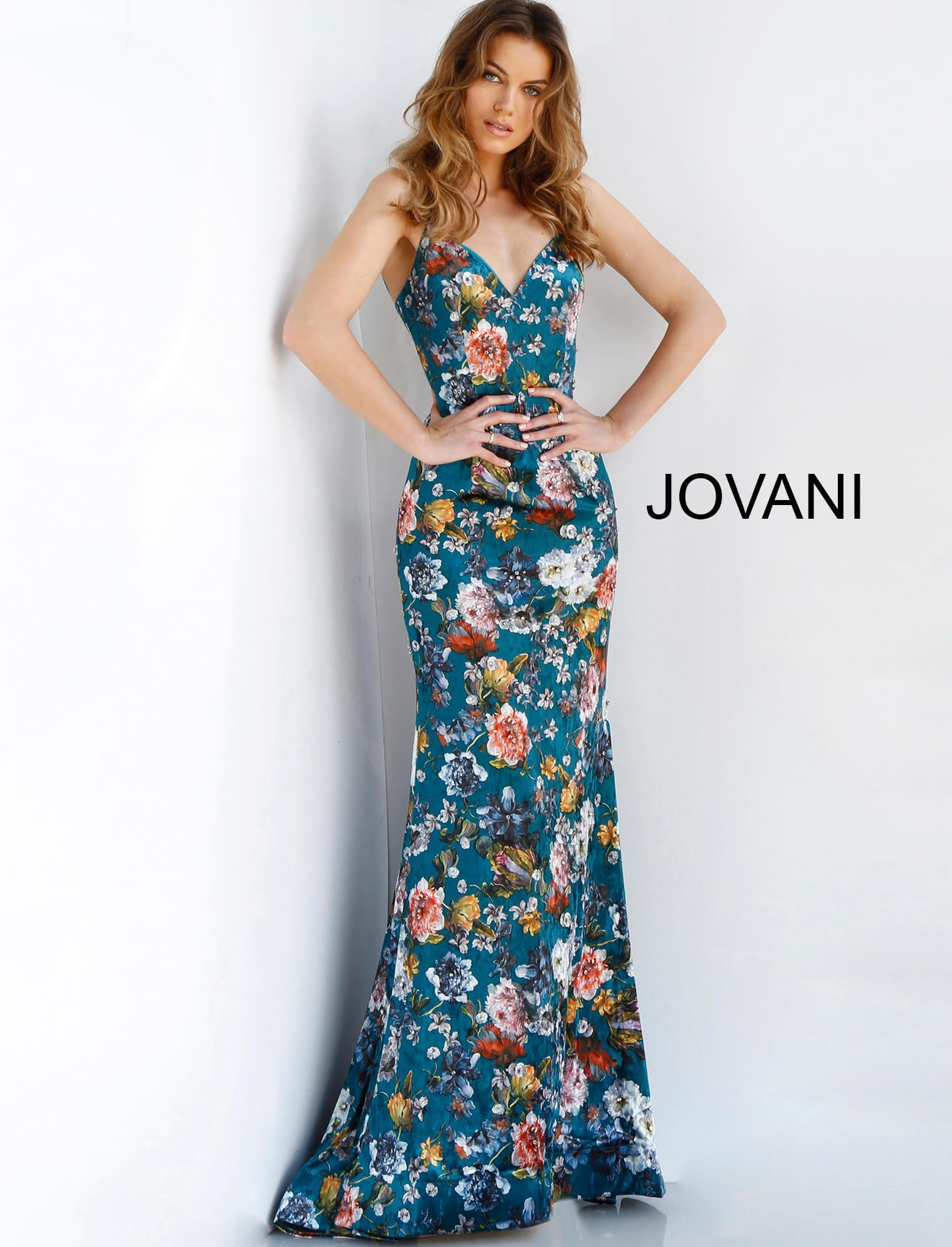 decd0d1de1776 Jovani 63576 Floral Print Plunging V-neck Trumpet Dress in Blue - Lyst