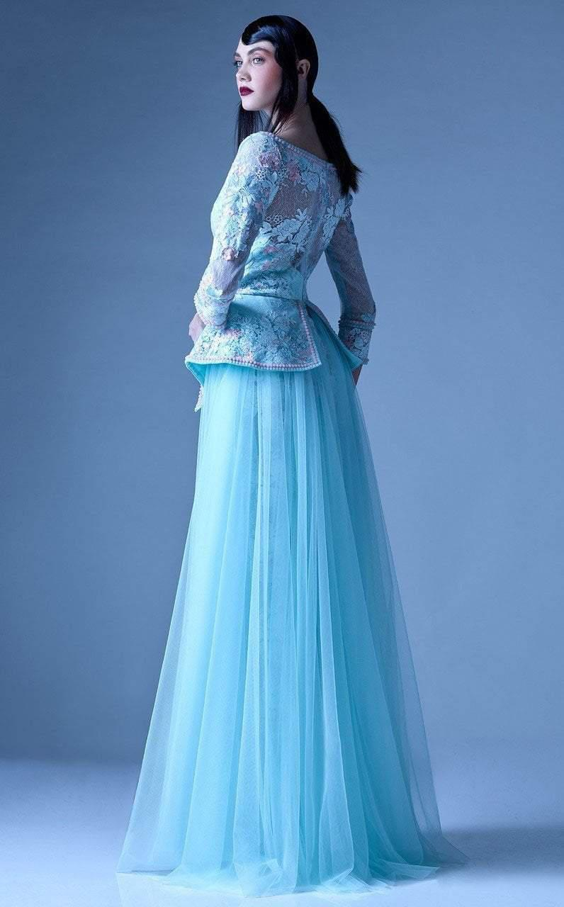 Lyst - Mnm Couture G0905 Embroidered Plunging Peplum Evening Gown in ...