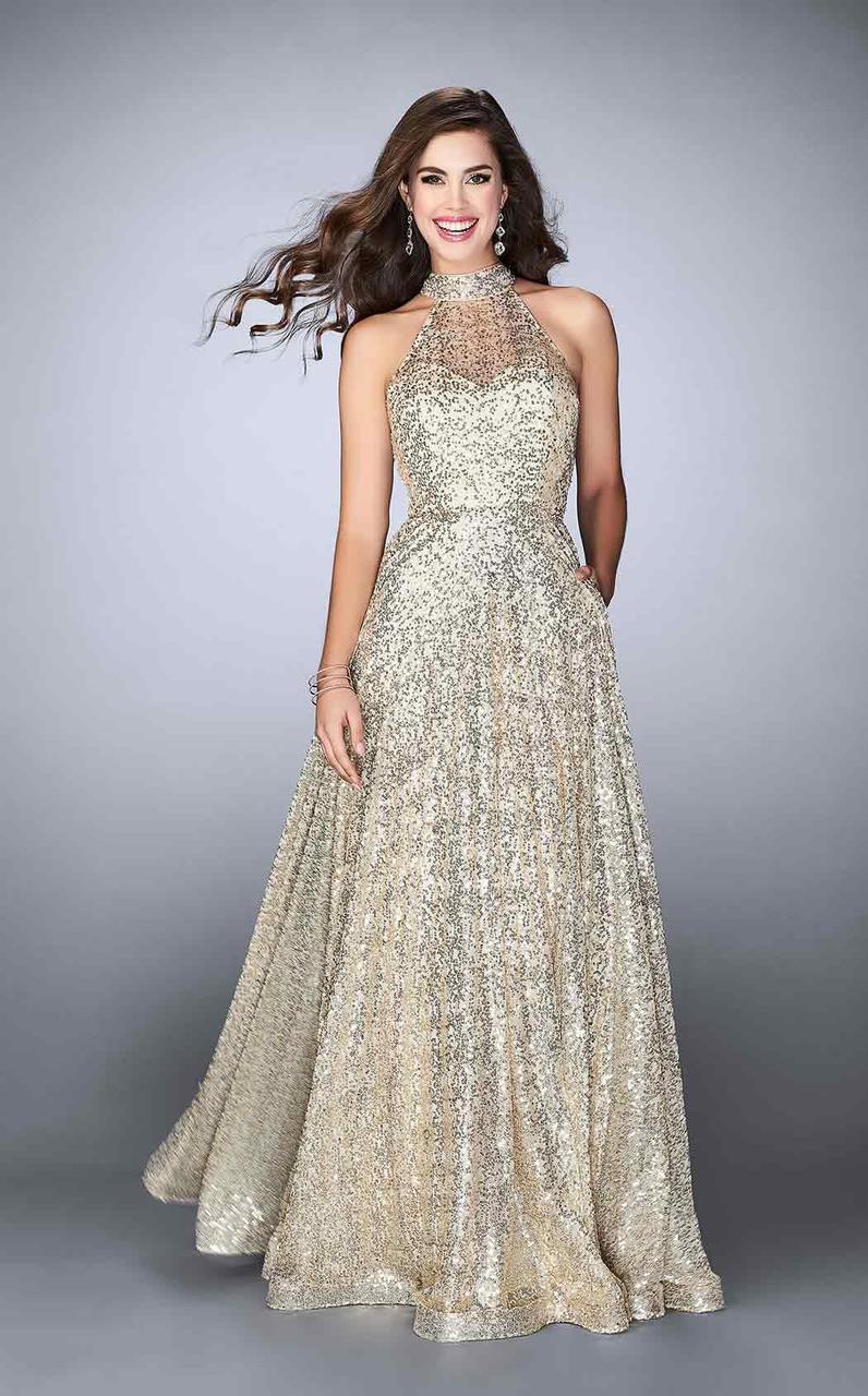 e38637c42d8 La Femme. Women s Metallic 24584 Halter Open Back Sparkly Sequin Long Prom  Dress