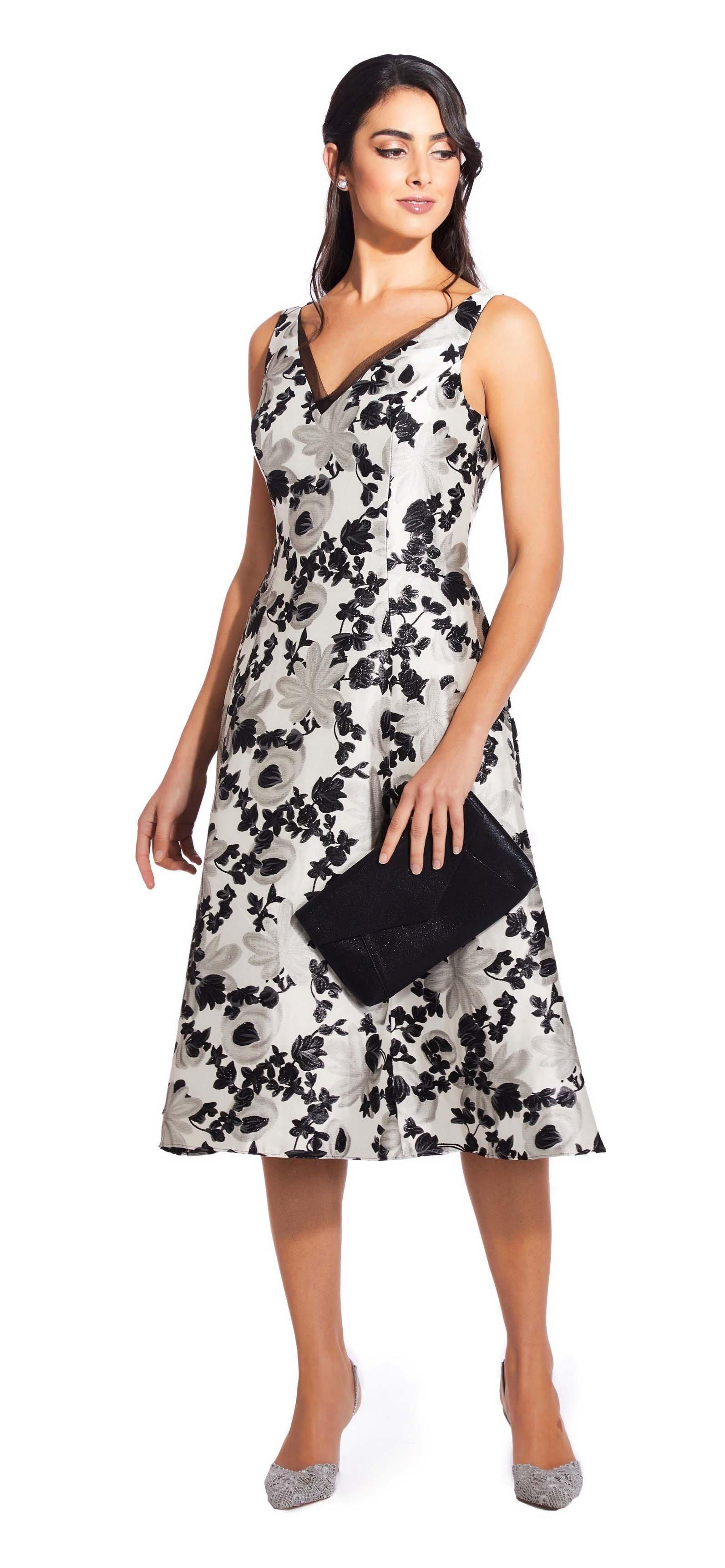 d7793f4b Adrianna Papell - Black Ap1e204997 Floral Metallic V-neck Dress - Lyst.  View fullscreen