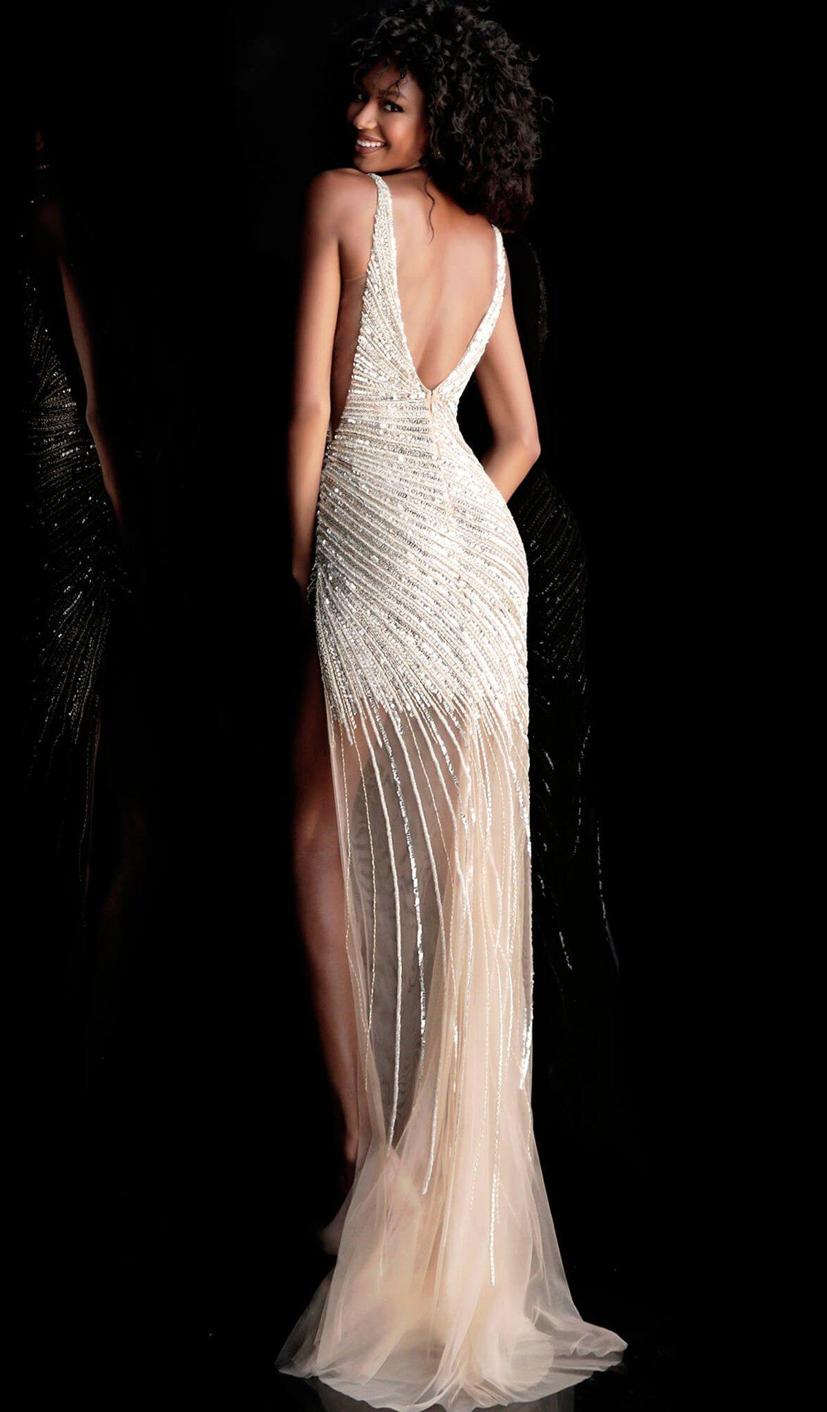 d21729a40a4 Jovani 63405 Asymmetrical Beaded Illusion High Slit Gown in Black - Lyst