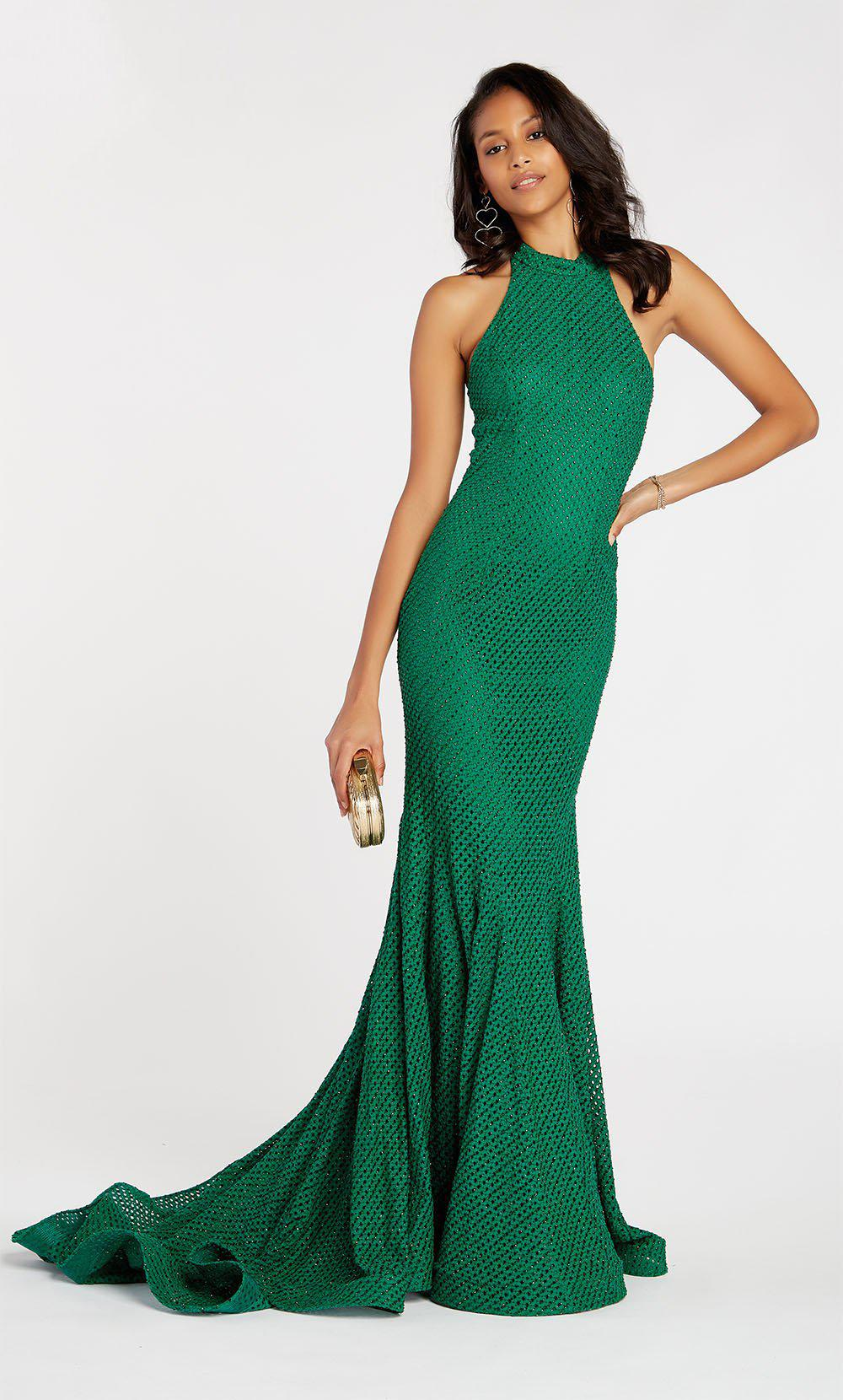 db95bea081 Lyst - Alyce Paris 60317 Diamond Lace High Halter Trumpet Dress in Green