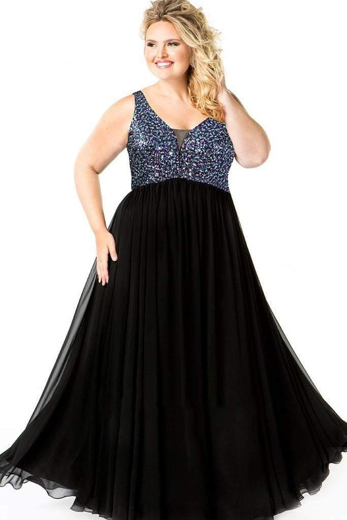 0139bc32fe1 Lyst - Sydney's Closet Ce1813 Sequin V-neck A-line Dress in Black