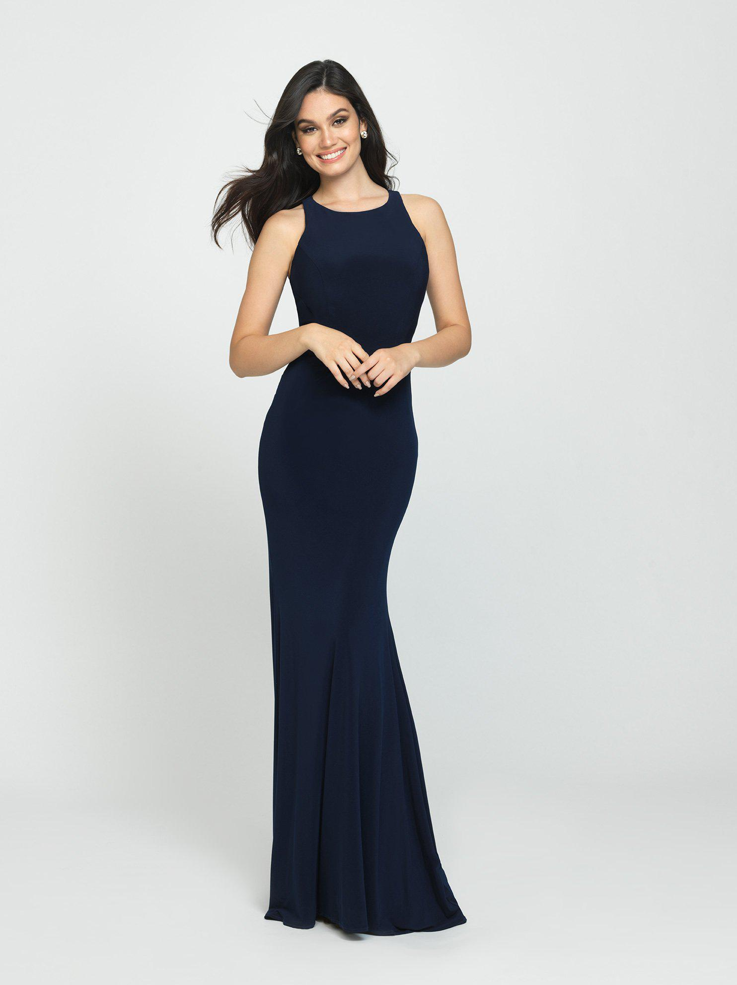 7339d05f596 Lyst - Madison James 19-104 Ruched Open Back Sheath Gown in Blue