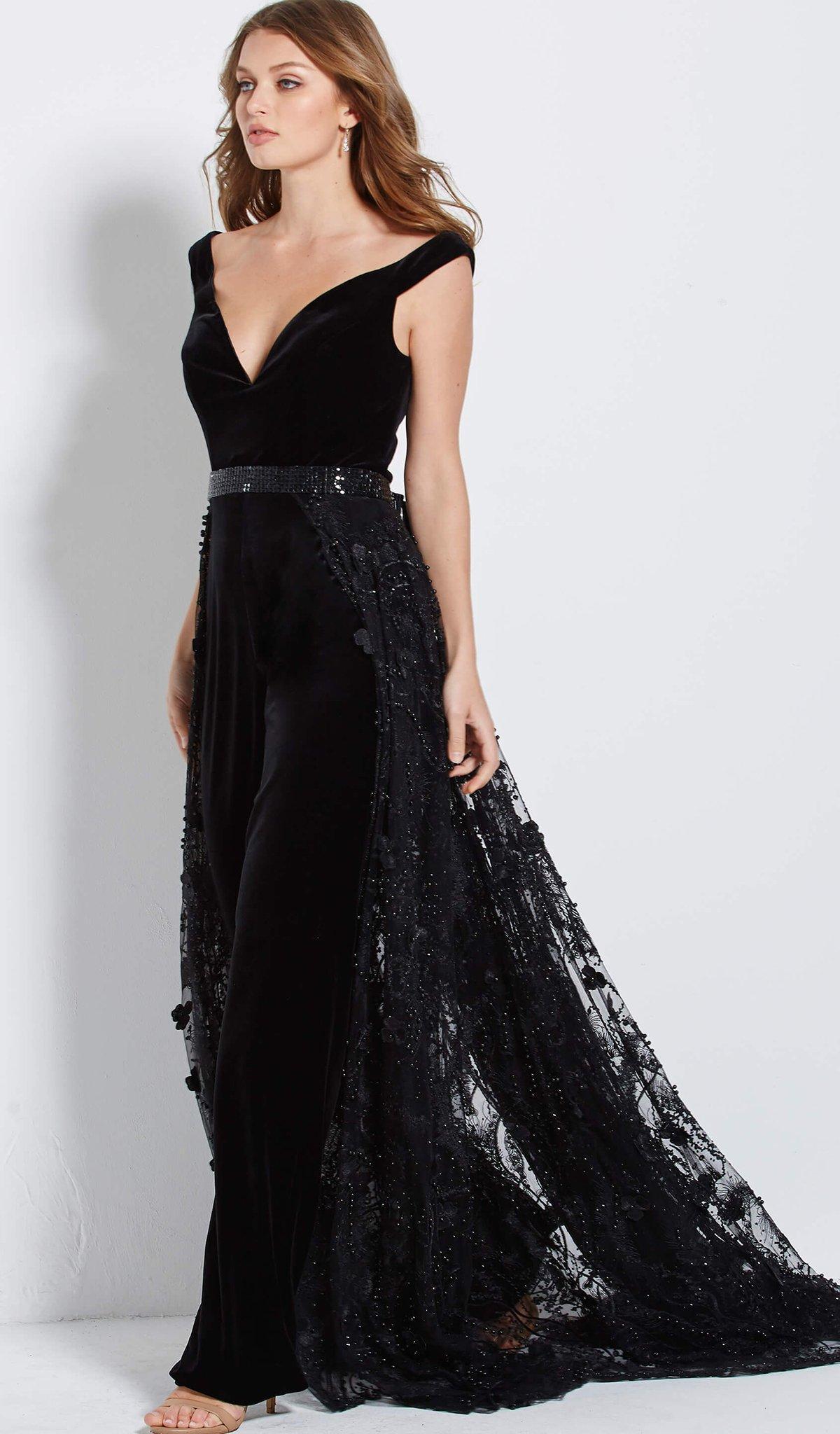 5df1447cee3 Jovani - Black 58964 Off Shoulder Velvet Jumpsuit Overskirt Gown - Lyst.  View fullscreen