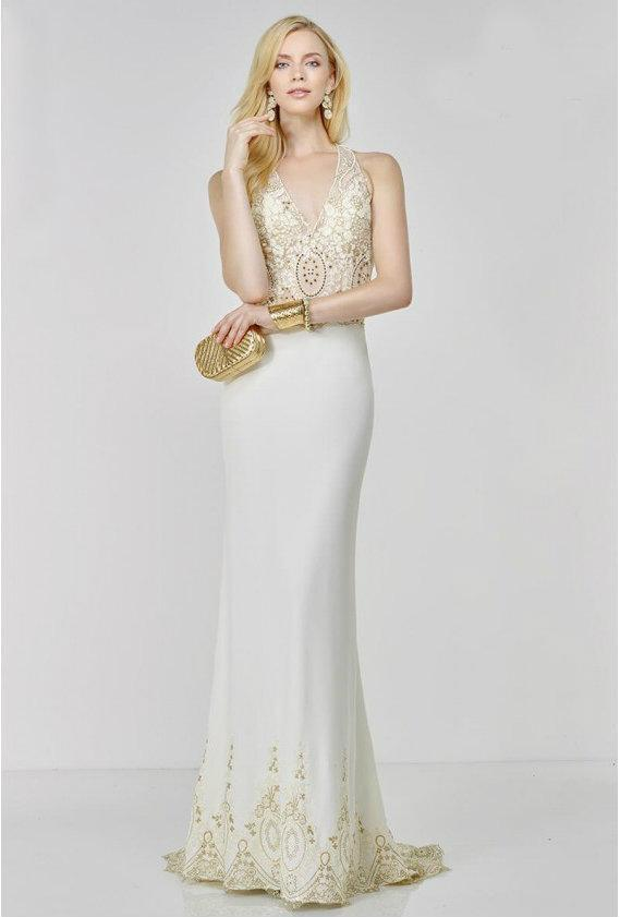7a26b9fa5ad Alyce Paris 6506 Prom Dress In Ivory Gold in White - Lyst