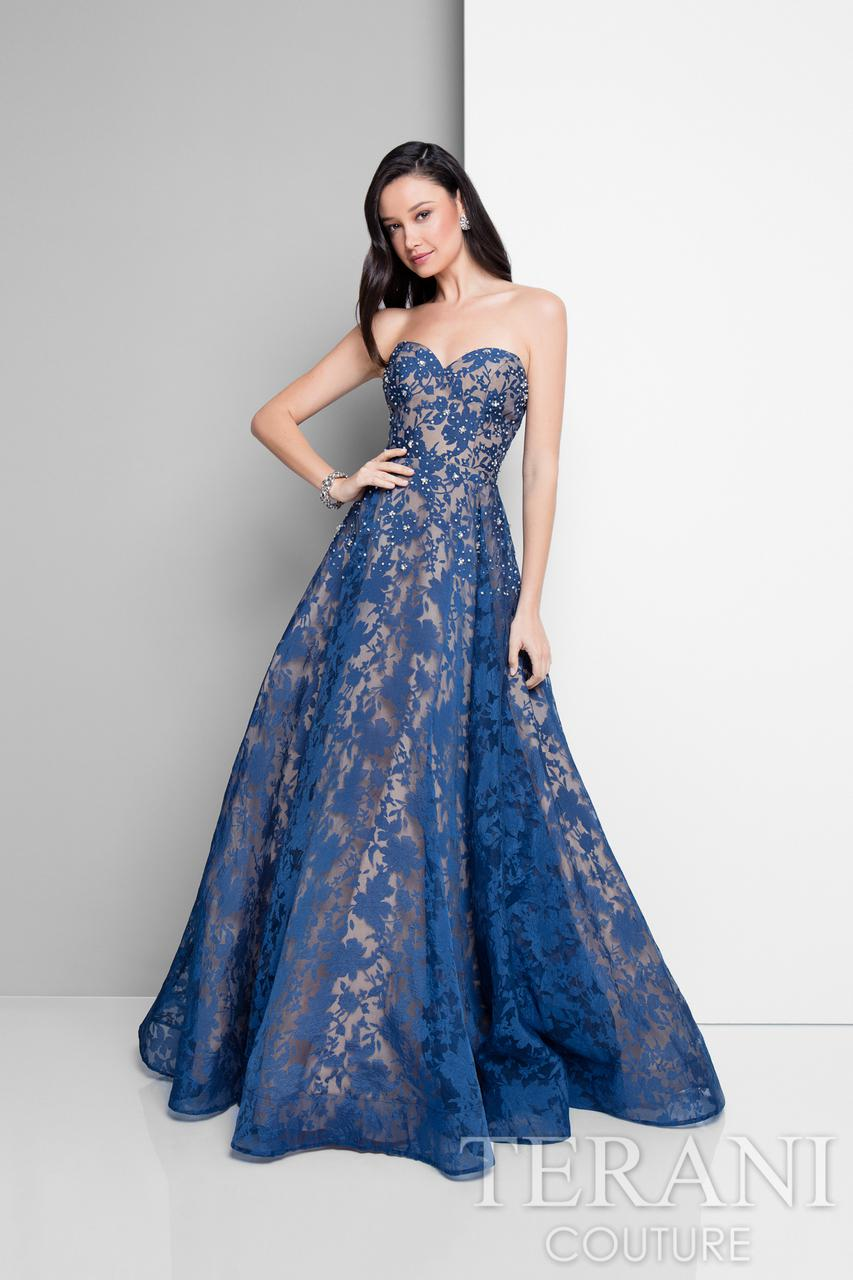 Lyst - Terani Strapless Sweetheart Beaded Ball Gown P