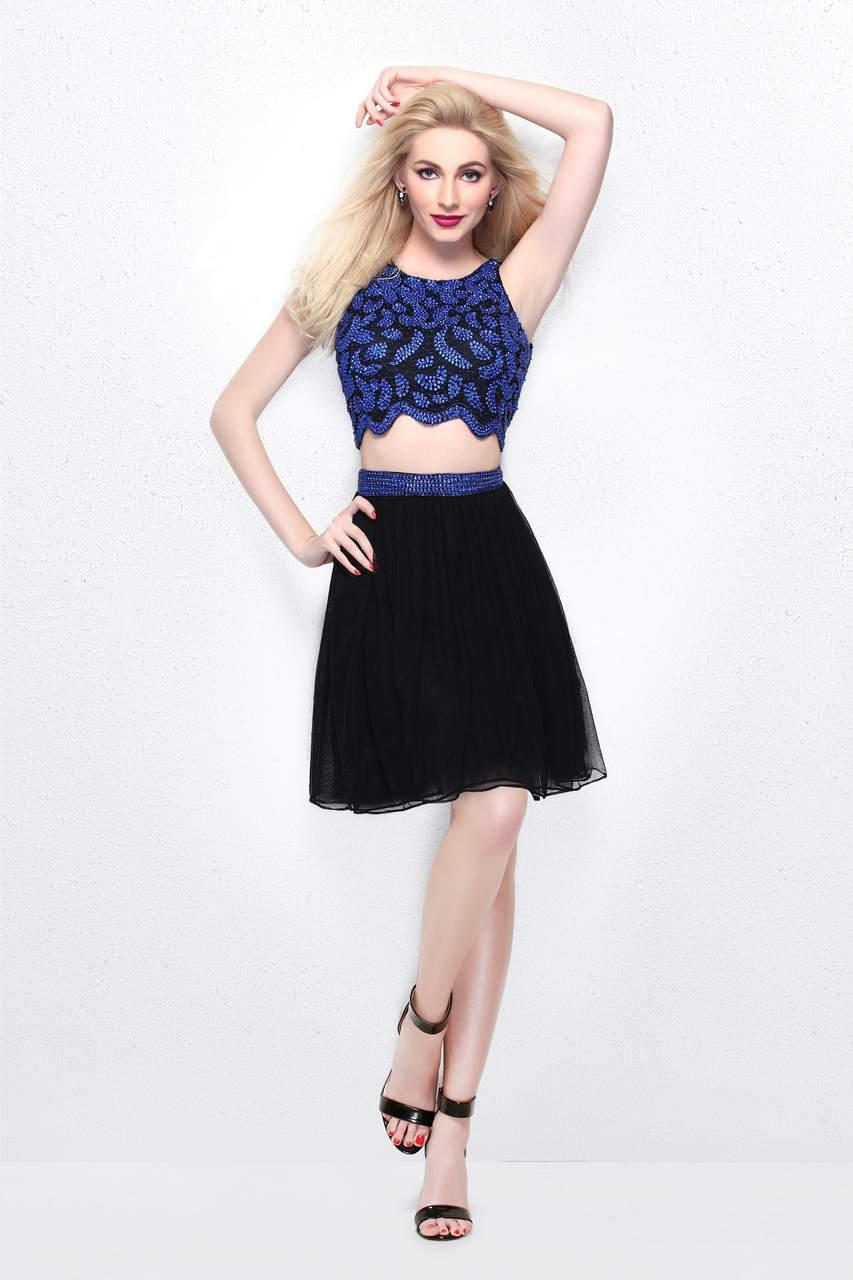 bc2cf50bba Primavera Couture Two Piece Sequined Cropped Top And A Line Mini ...