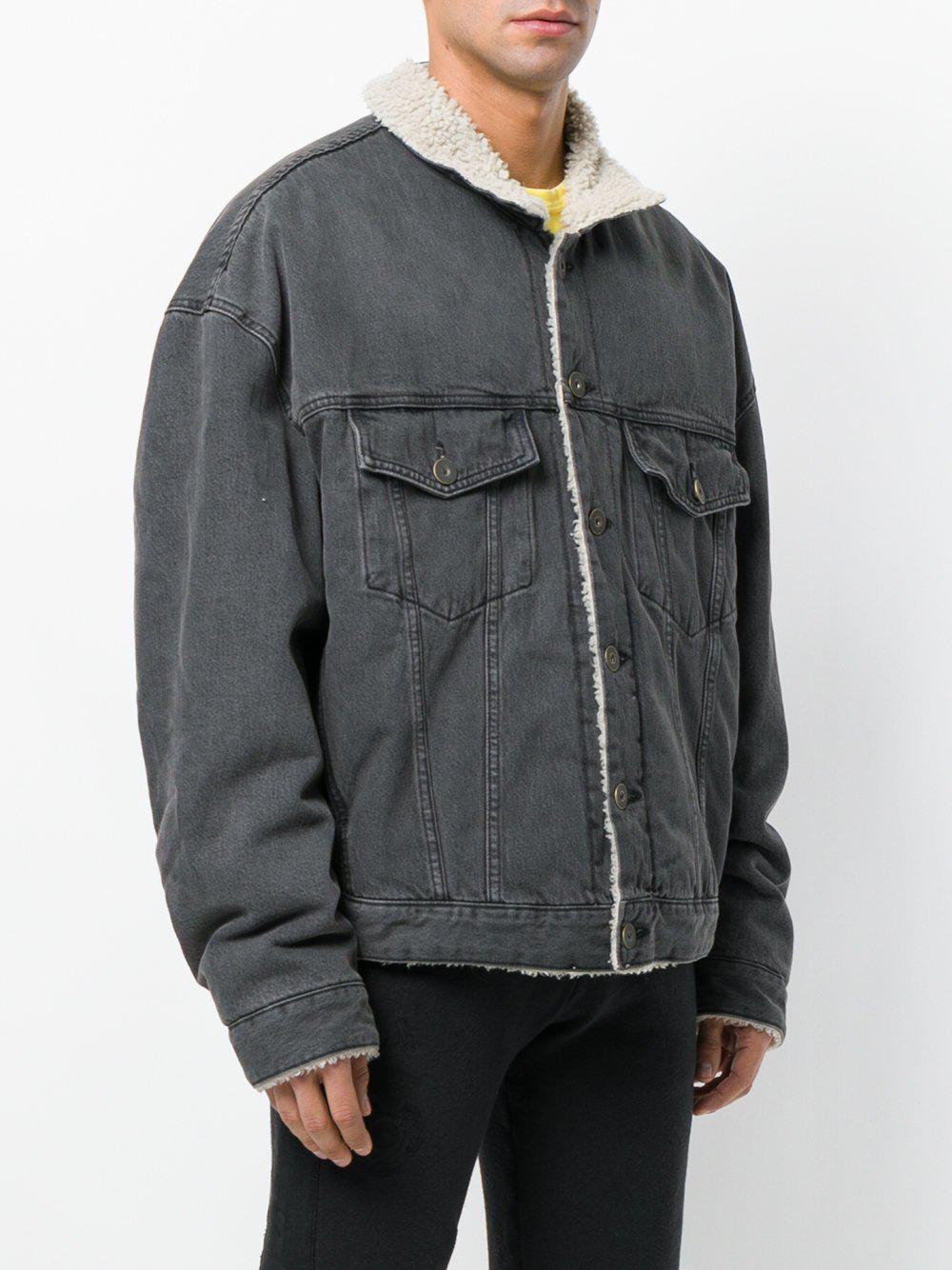 a247423bf Yeezy Classic Sherpa Jean Jacket in Black for Men - Lyst