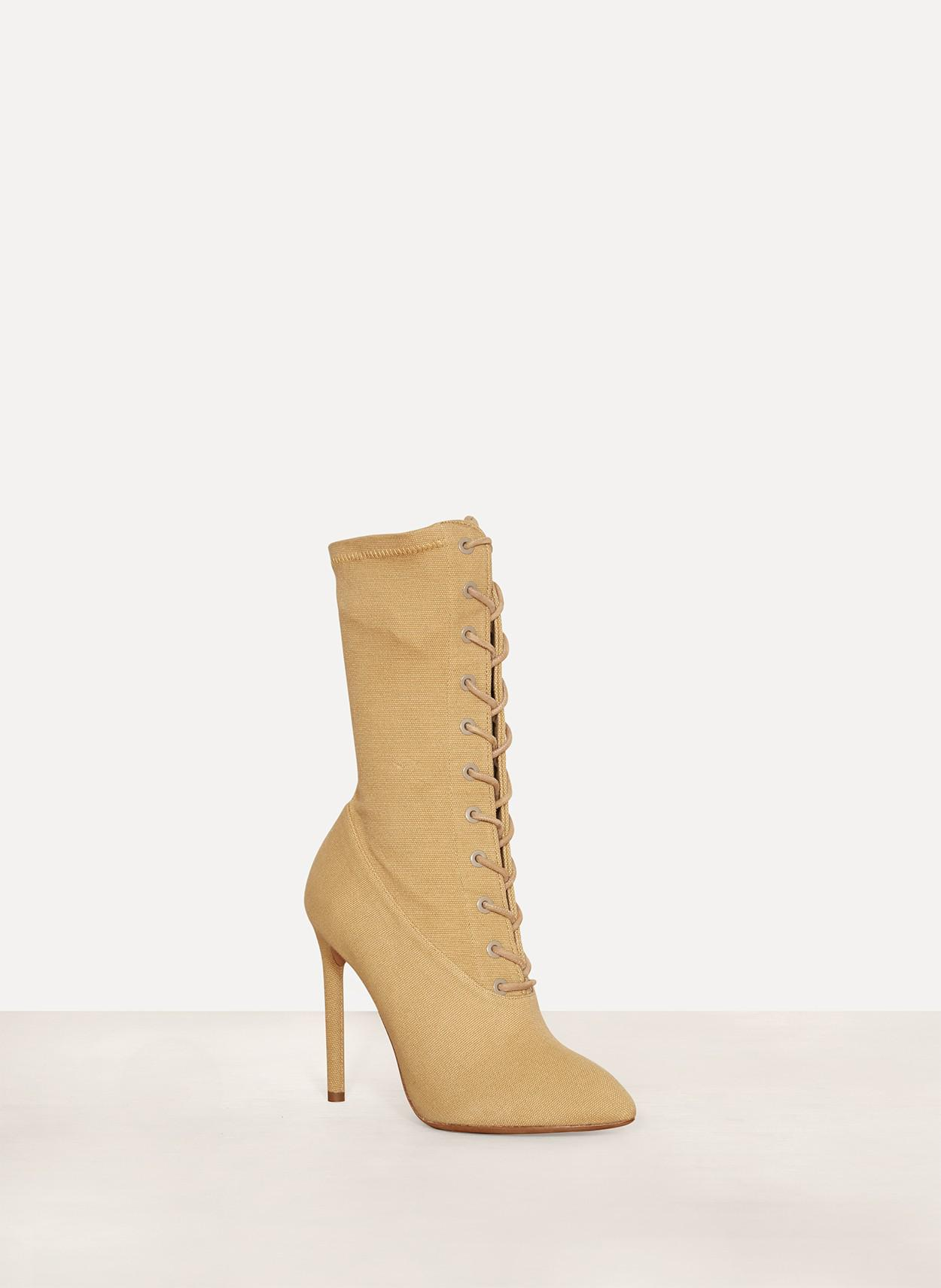 432873f44 Lyst - Yeezy Womens Lace Up Boot Dollar Stretch Canvas in Natural