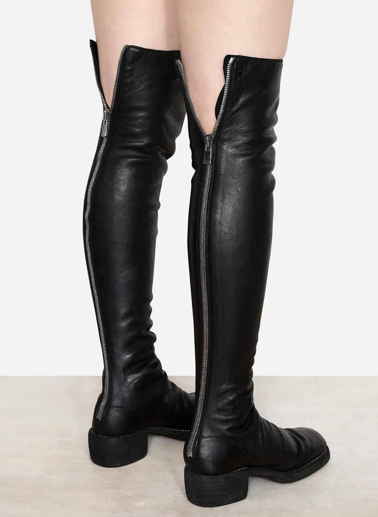 lyst guidi 7912z soft horse knee length boots in black