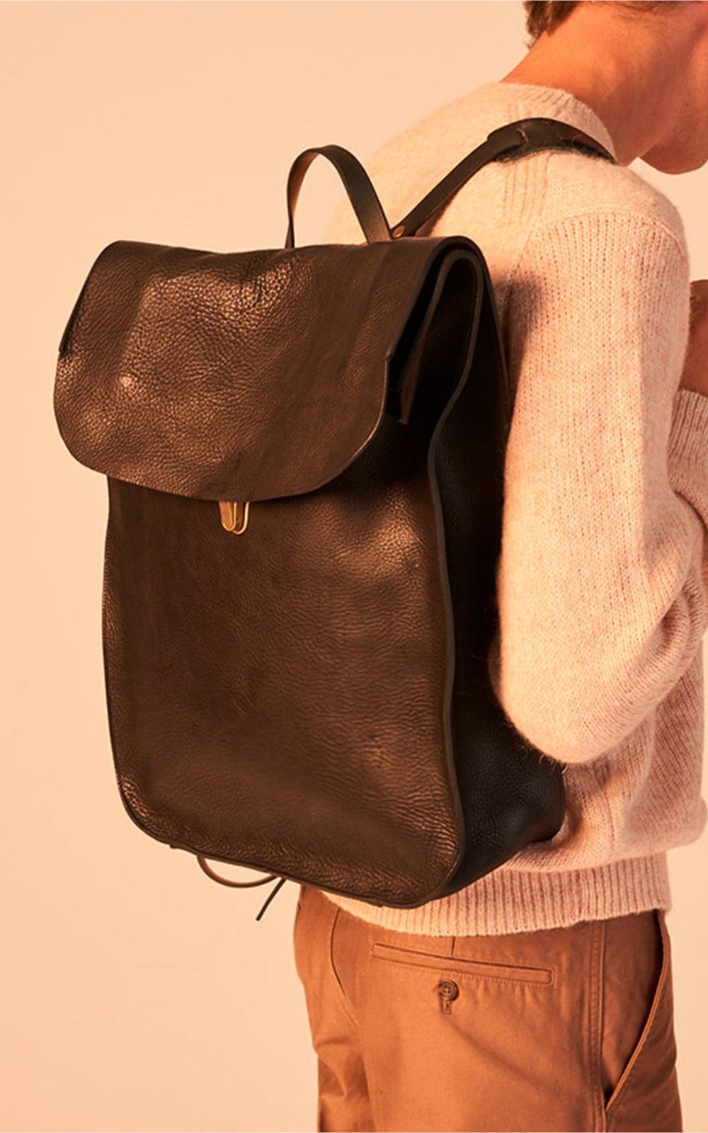 Lyst - Bleu De Chauffe Arlo Leather Backpack Black in Black for Men ab020c380255d