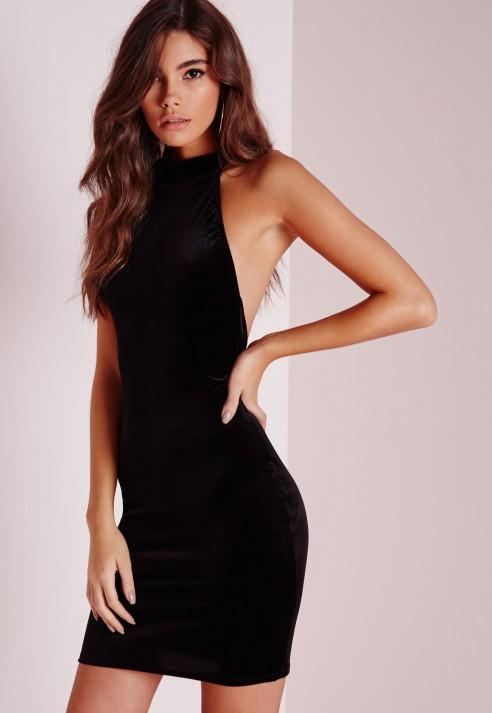 Missguided Velvet Halterneck Mini Dress Black In Black Lyst
