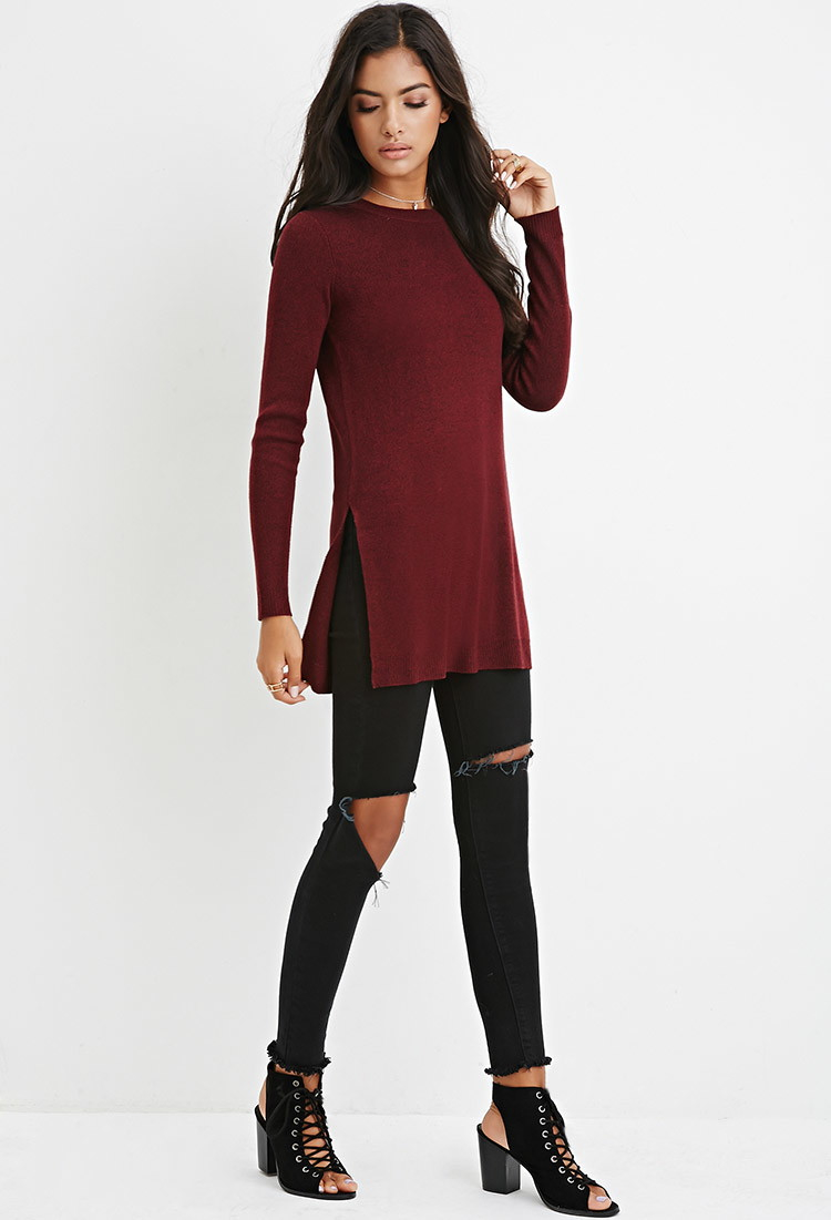 Forever 21 Side-slit Sweater Tunic in Purple | Lyst