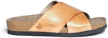 Sam Edelman Adora Crossstrap Sandals In Orange Metallic