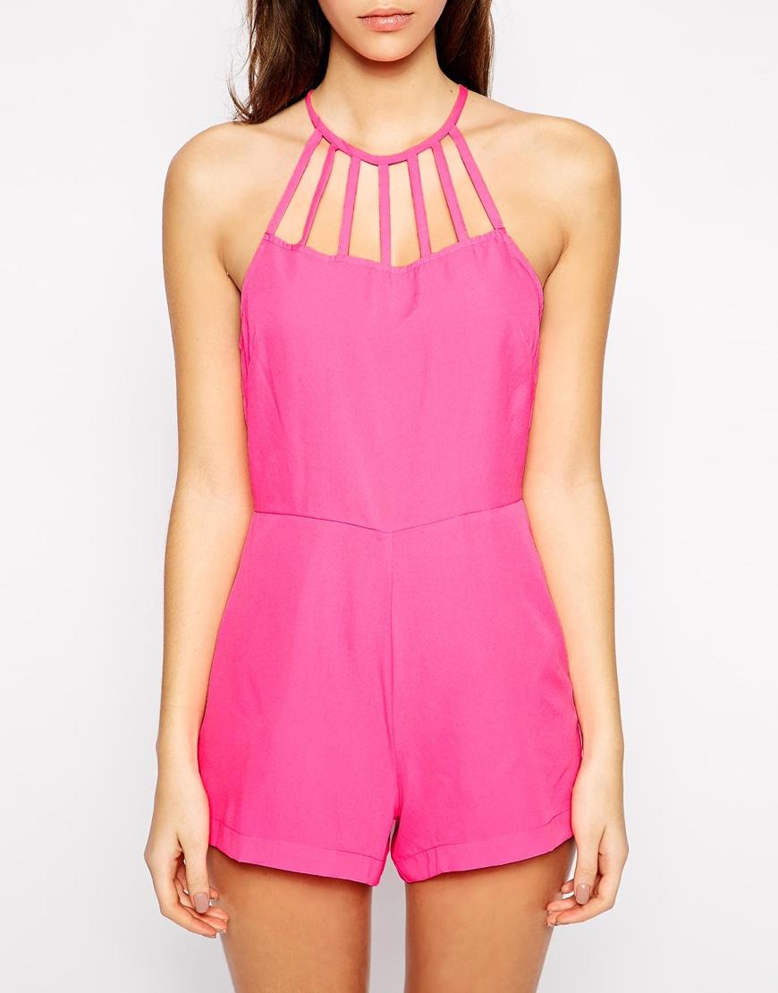 7cad1559797 Lyst - Asos Neon Lattice Playsuit in Pink