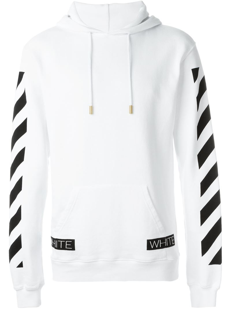 1c5bd57bde42d8 Lyst - Off-White c o Virgil Abloh Striped Sleeve Pullover Hoodie in ...