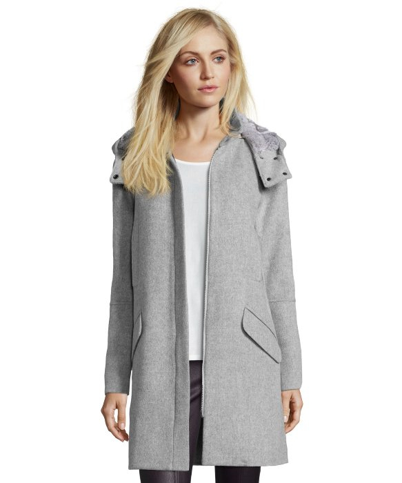 Vince Light Heather Grey Wool Fur Lined Hooded Coat in Gray | Lyst