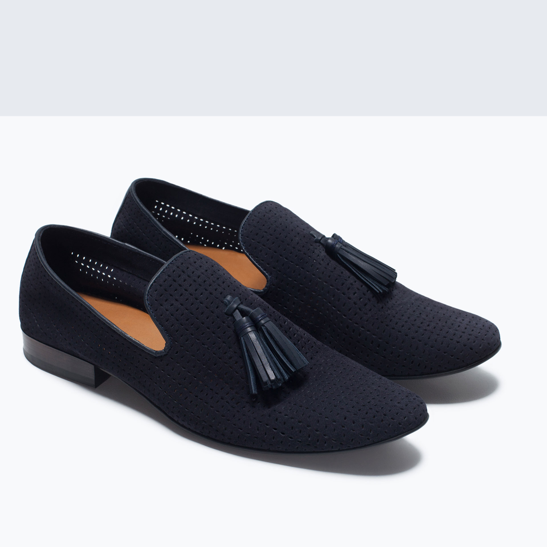 Zara Leather Slipper Shoes With Tassels in Blue for Men | Lyst