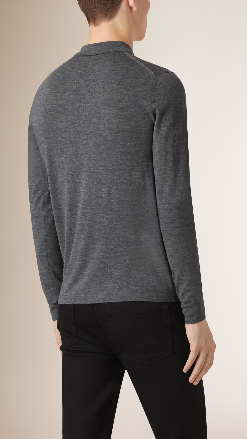 Burberry long sleeved knitted merino wool polo shirt in for Long sleeve wool polo shirts
