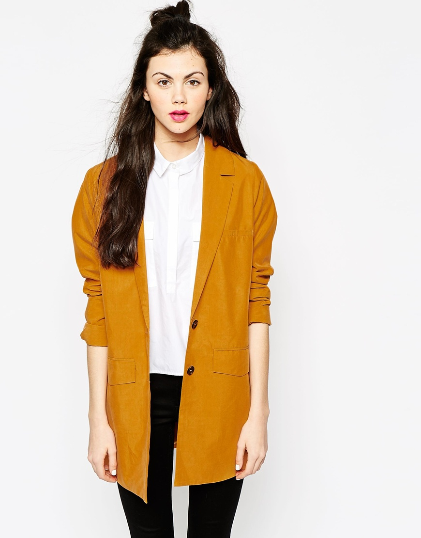 lyst monki oversized blazer in yellow. Black Bedroom Furniture Sets. Home Design Ideas