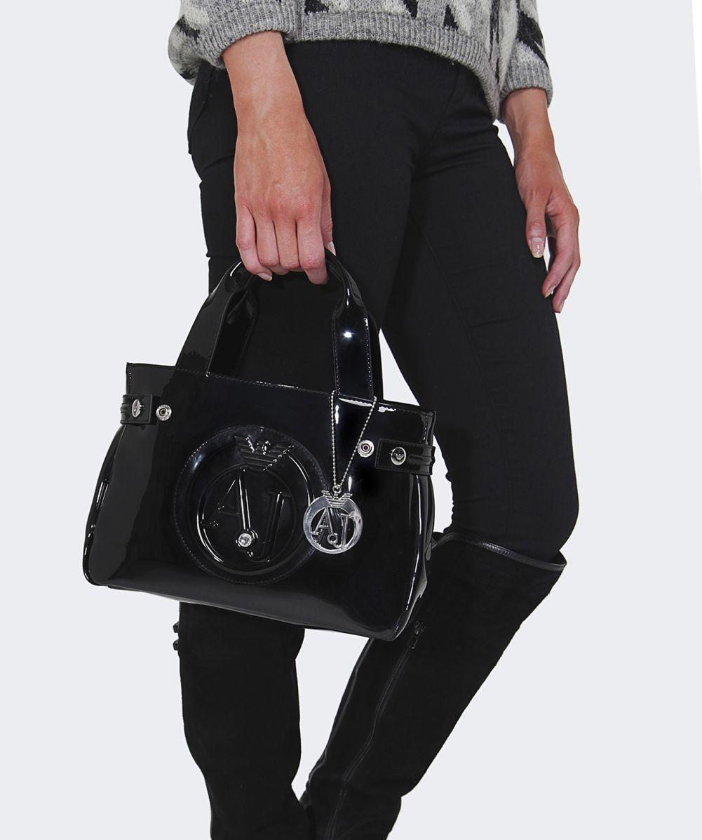 Armani jeans Small Patent Shopper Bag in Black   Lyst