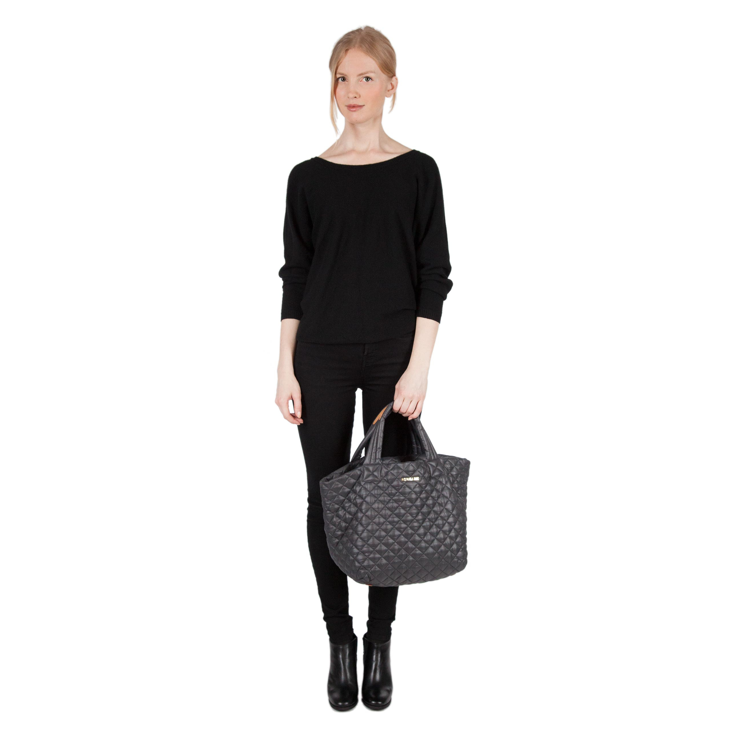 Mz Wallace Small Metro Tote Magnet Quilted Oxford In Black