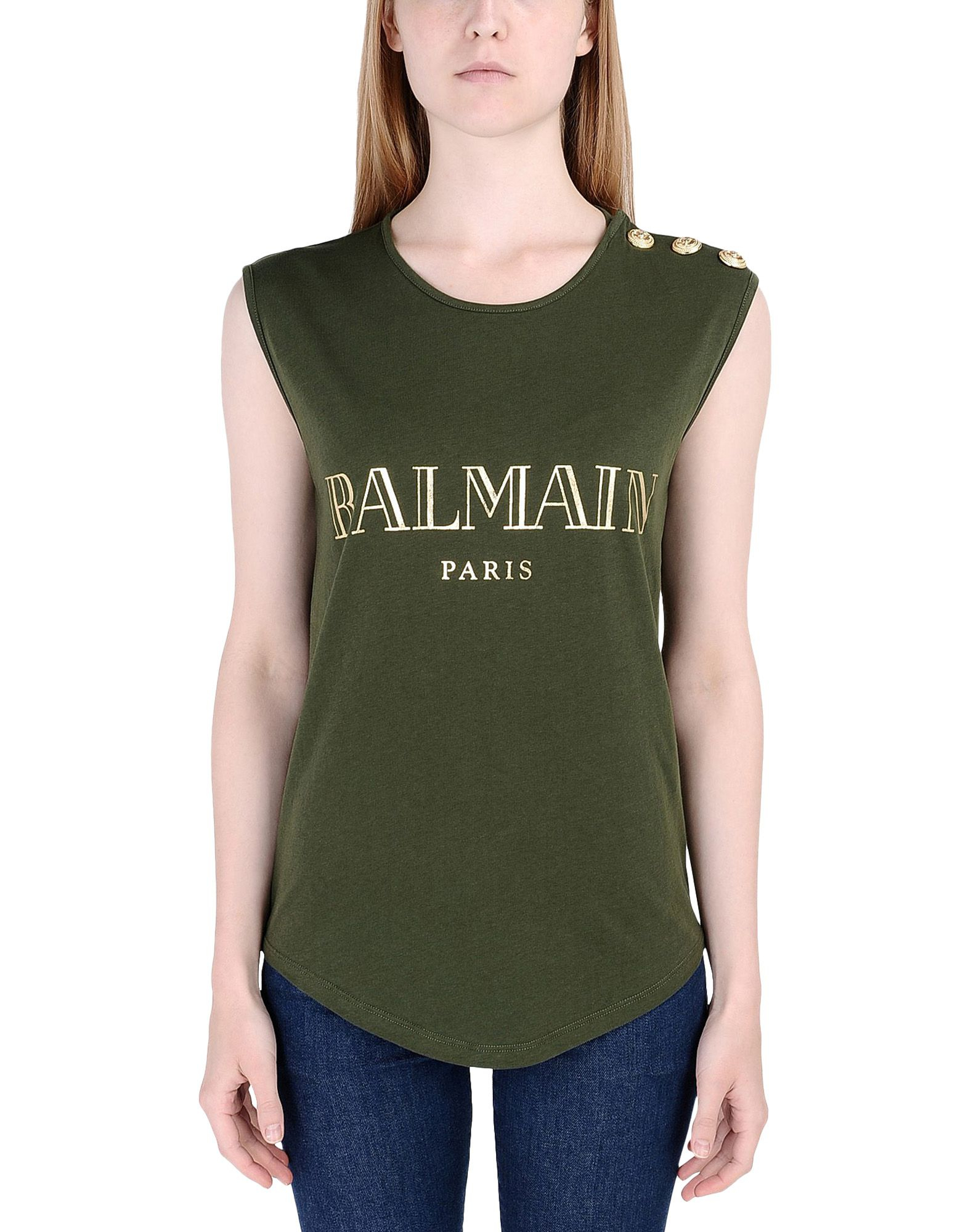 balmain sleeveless t shirt in green military green lyst. Black Bedroom Furniture Sets. Home Design Ideas