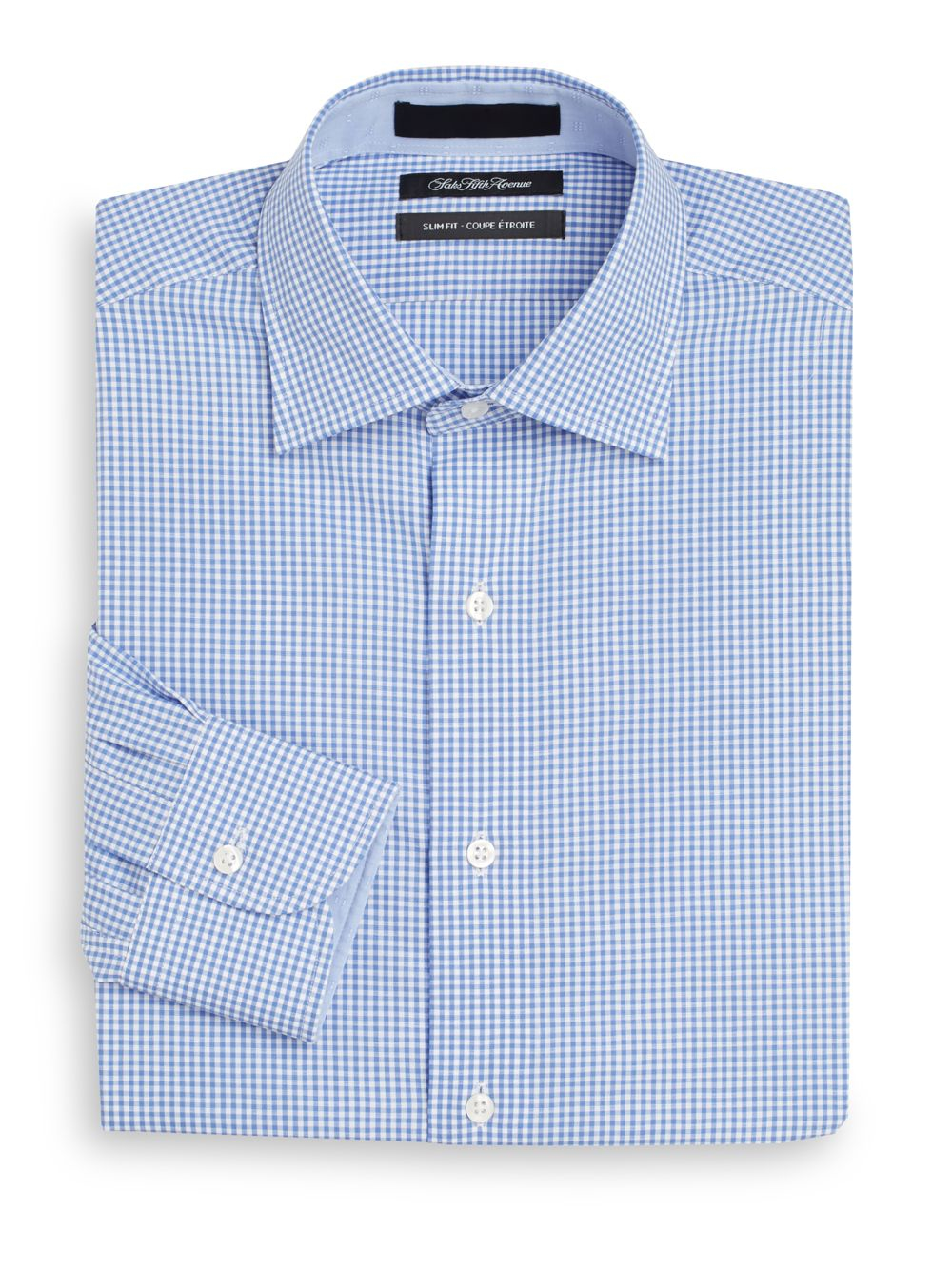 Saks fifth avenue slim fit gingham check cotton dress for Slim fit gingham check shirt