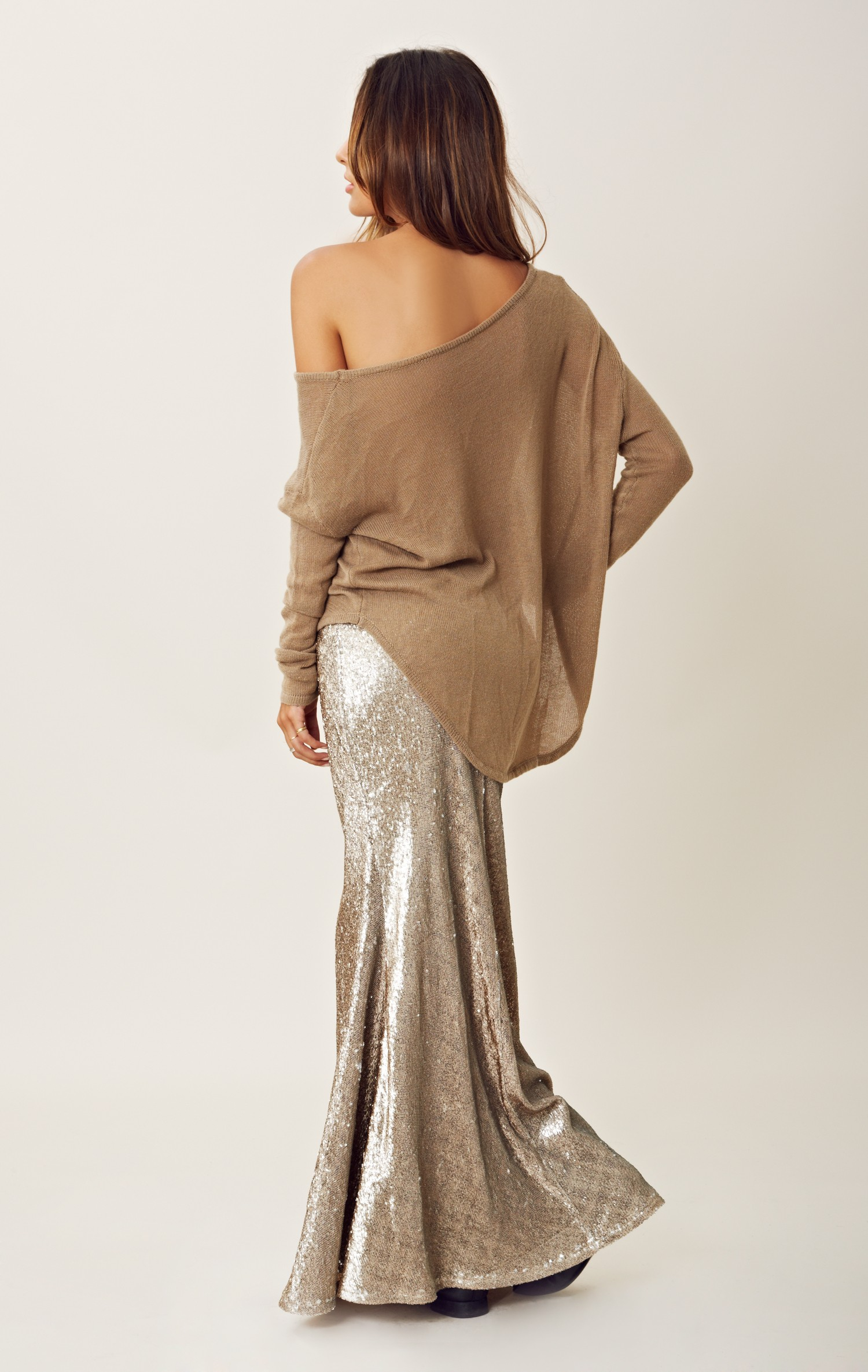 line dot sequin maxi skirt in gold lyst