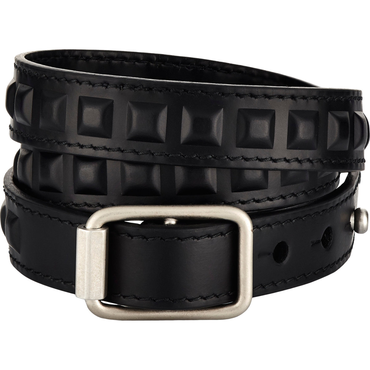 8d193a251aca3 Lyst - Balenciaga Embossed-grid Triple-wrap Bracelet in Black for Men