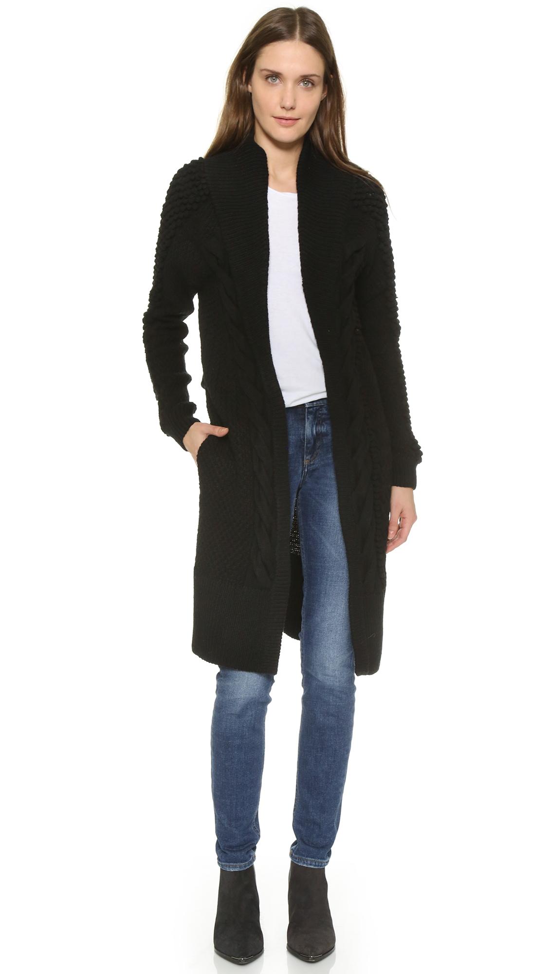 Prabal gurung Cashmere Cardigan Coat in Black | Lyst