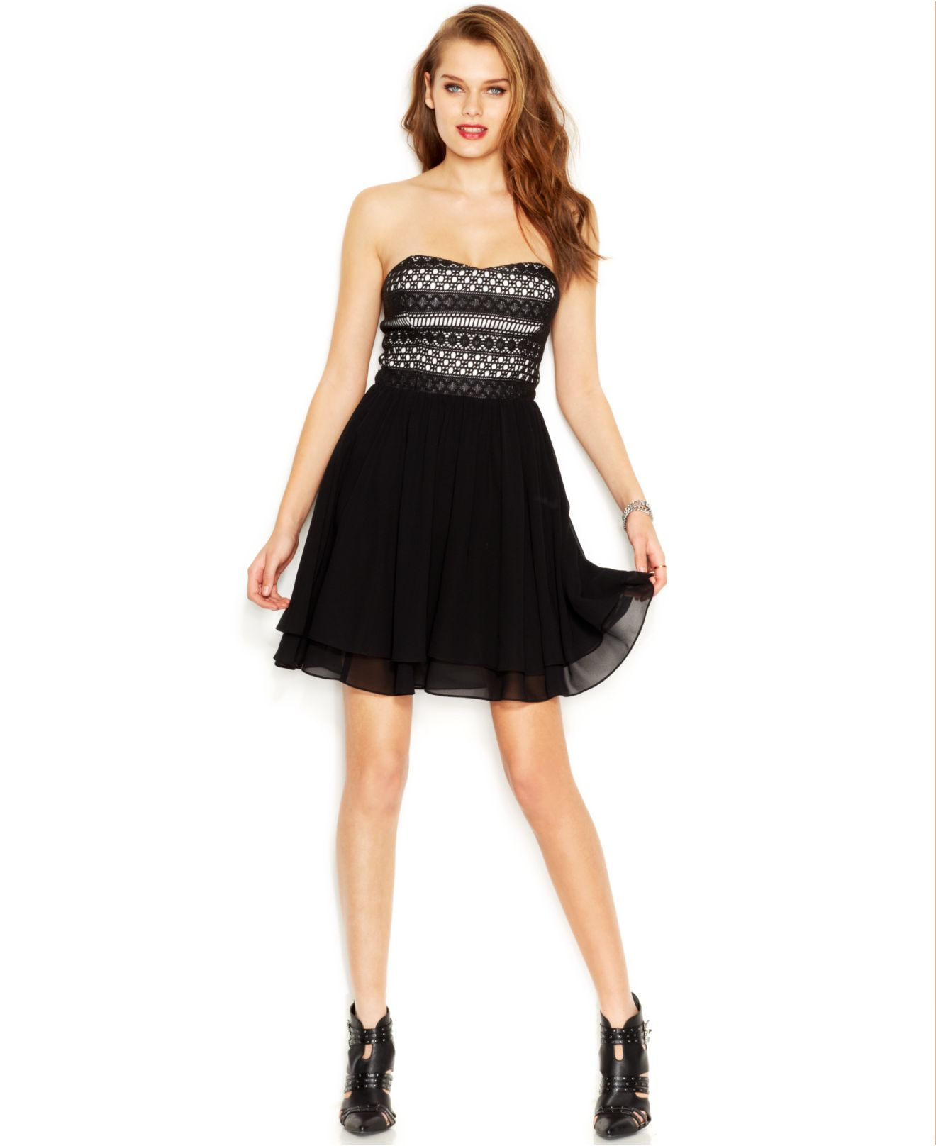 Lyst - Guess Contrast Crochet Strapless Dress in Black
