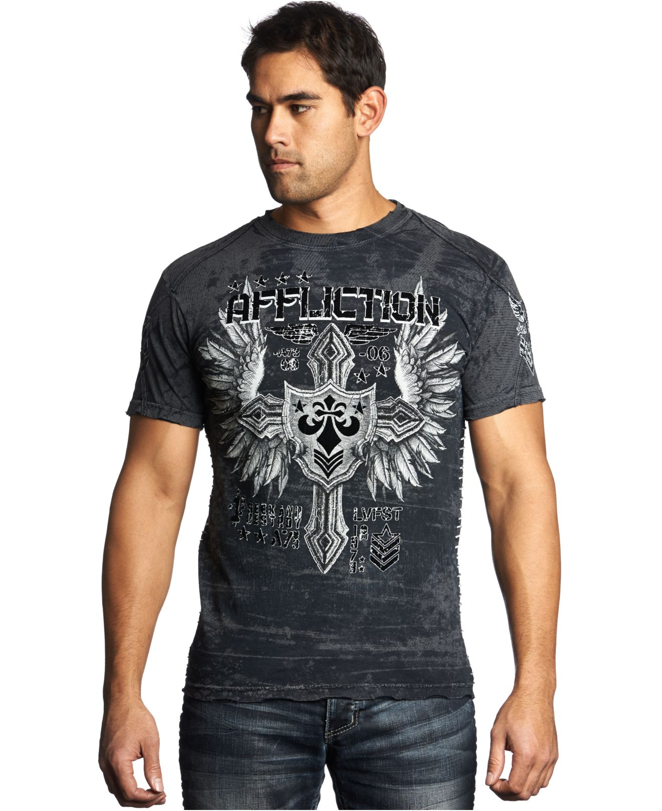 Lyst affliction combination t shirt in black for men for Mens affliction t shirts