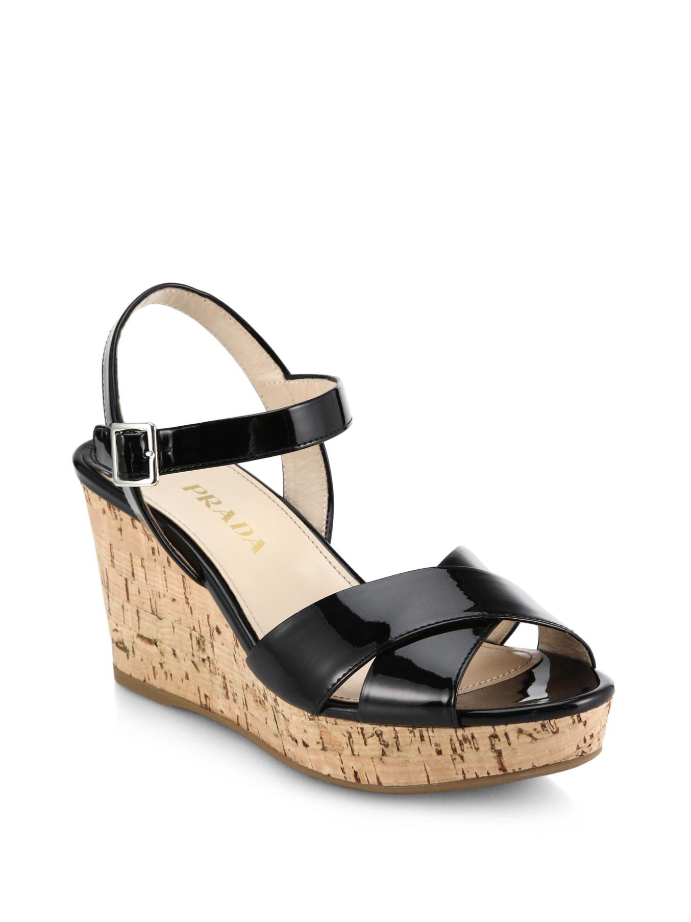 b3dfb4a21f6 Lyst - Prada Cork-wedge Patent Leather Sandals in Black