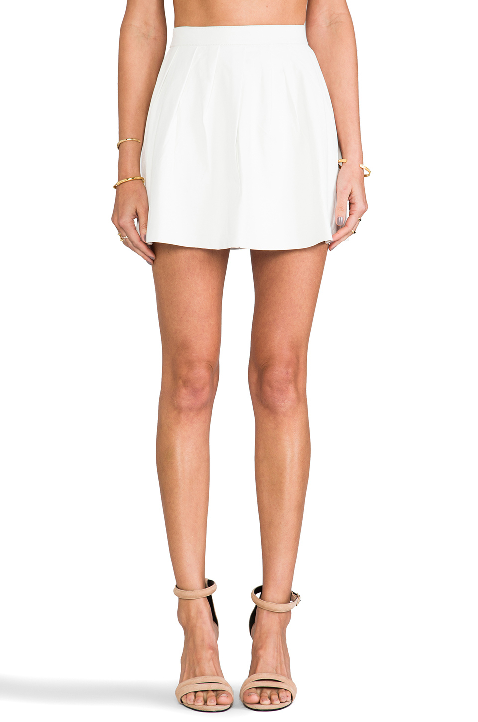 52adc7731000 This Is A Love Song Strike Plain Leather Mini Skirt in White - Lyst