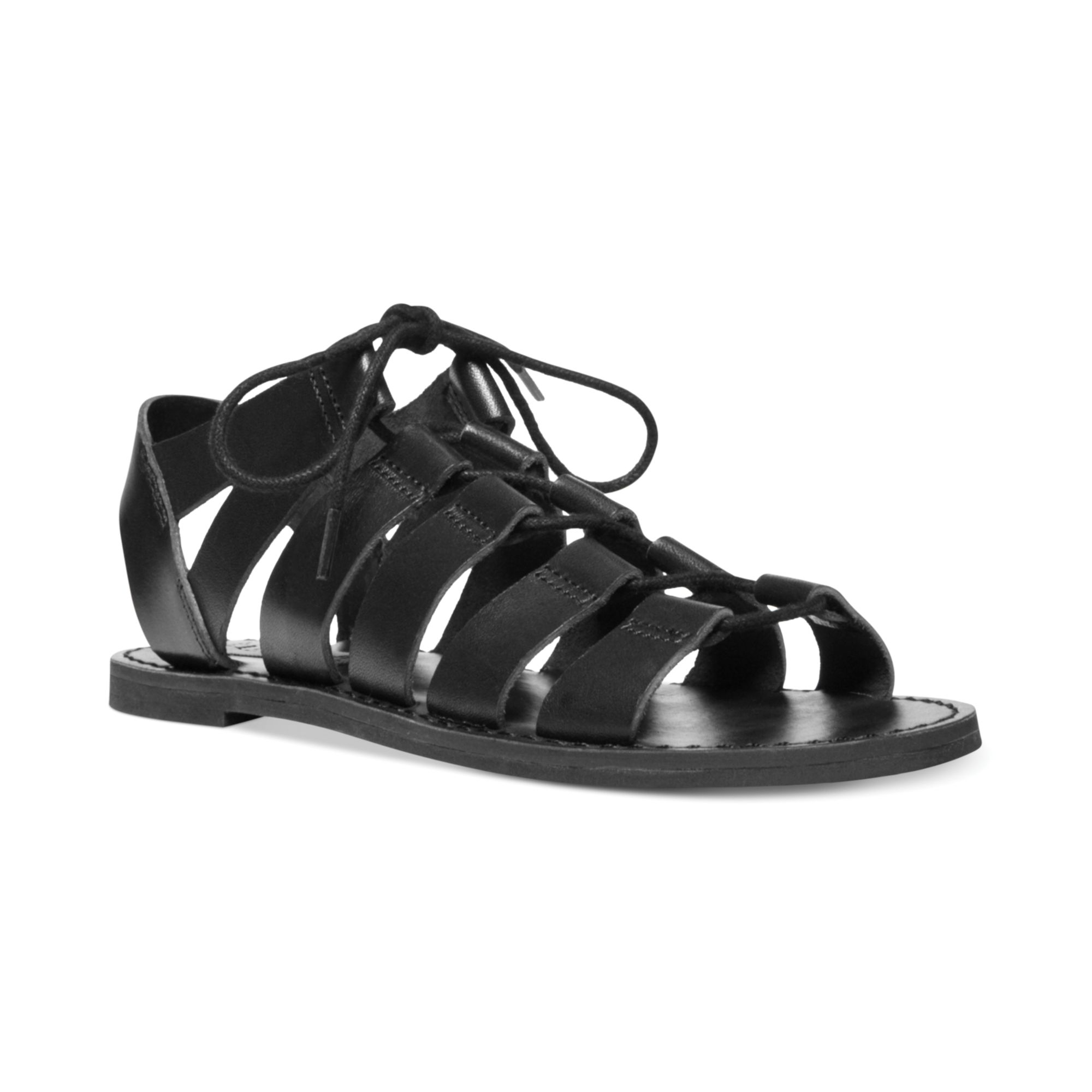 Steve Madden Womens Squidd Caged Flat Sandals In Black
