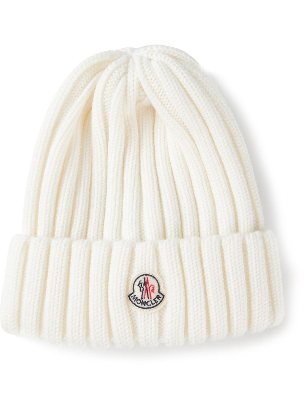 Lyst - Moncler Ribbed Beanie in White b88293334fb