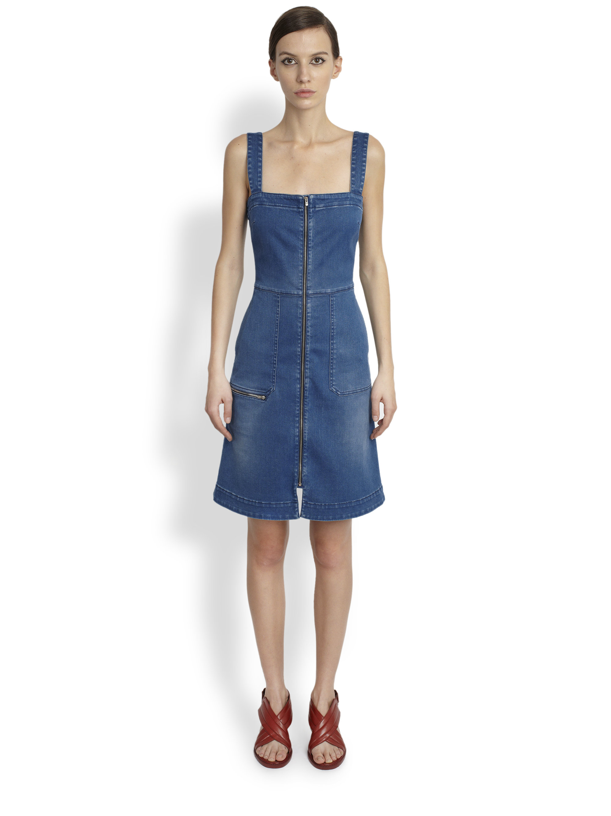 82dd36e34b Stella mccartney zip front denim dress in blue lyst jpg 2000x2667 Denim zip  front dress