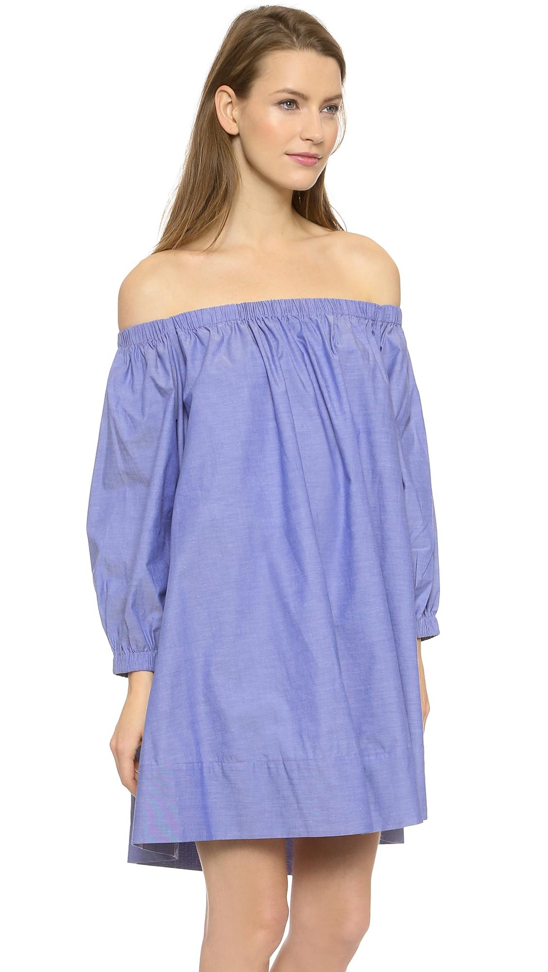 Cynthia Rowley Cotton Voile Peasant Dress White In Blue